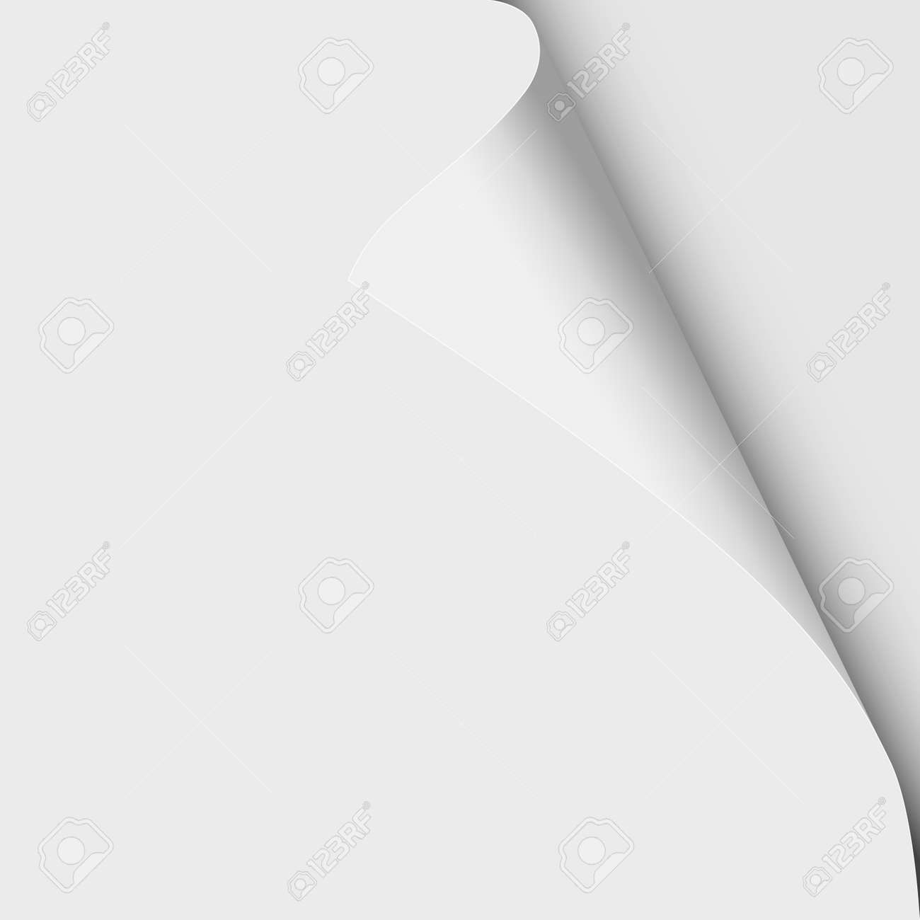 Sheet of white paper with curled upper right corner and soft shadow. Vector template paper design. - 149040310