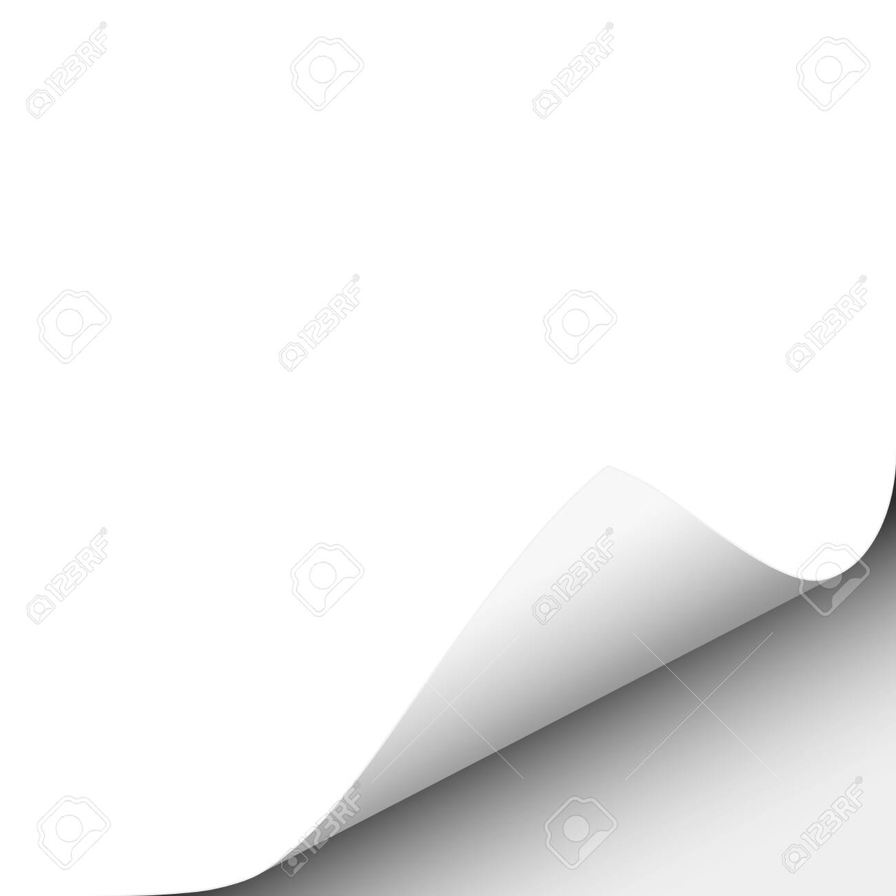 Vector lower right curl of corner of white sheet of paper. - 149143739