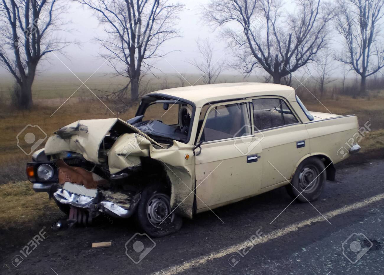 Consequences Of A Car Accident, A Wrecked Car. Road Traffic Accident. Stock  Photo, Picture And Royalty Free Image. Image 120109138.
