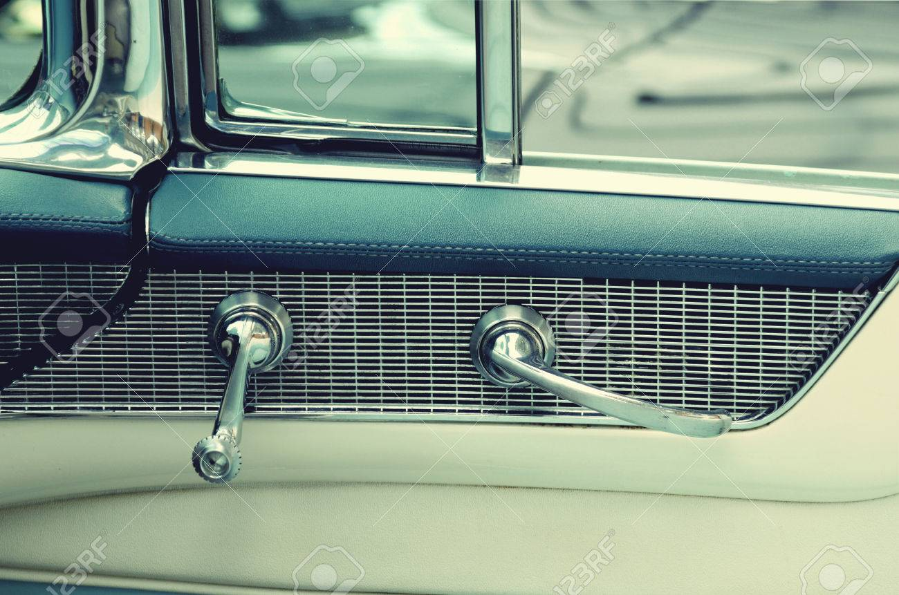 Door Handles In Vintage Cars Retro Car Elegance Stock Photo