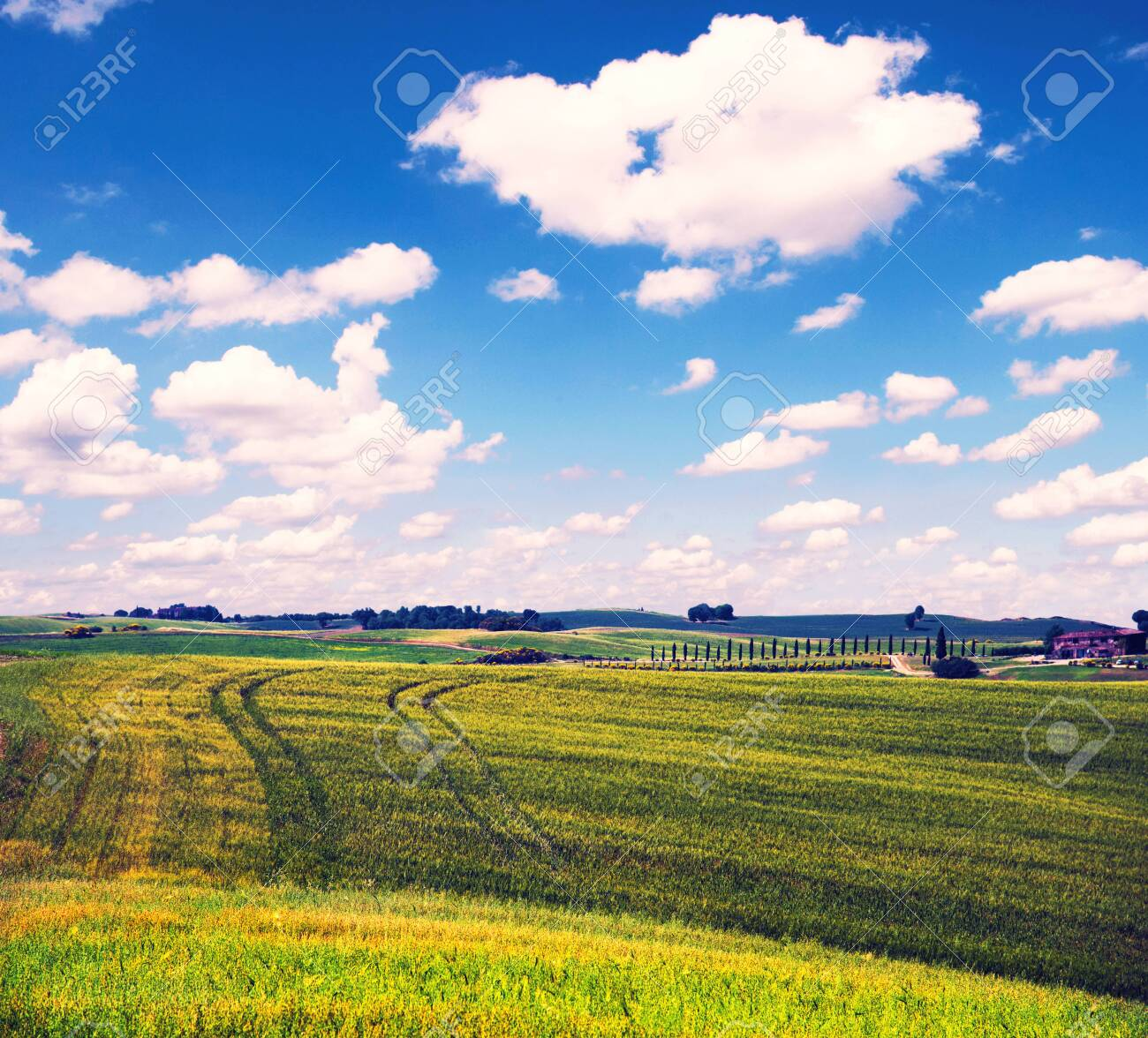 fascinating beautiful magnetism landscape with tracks of wheels on hills against clouds in Tuscany, Italy. Excellent tourist places. - 120994561