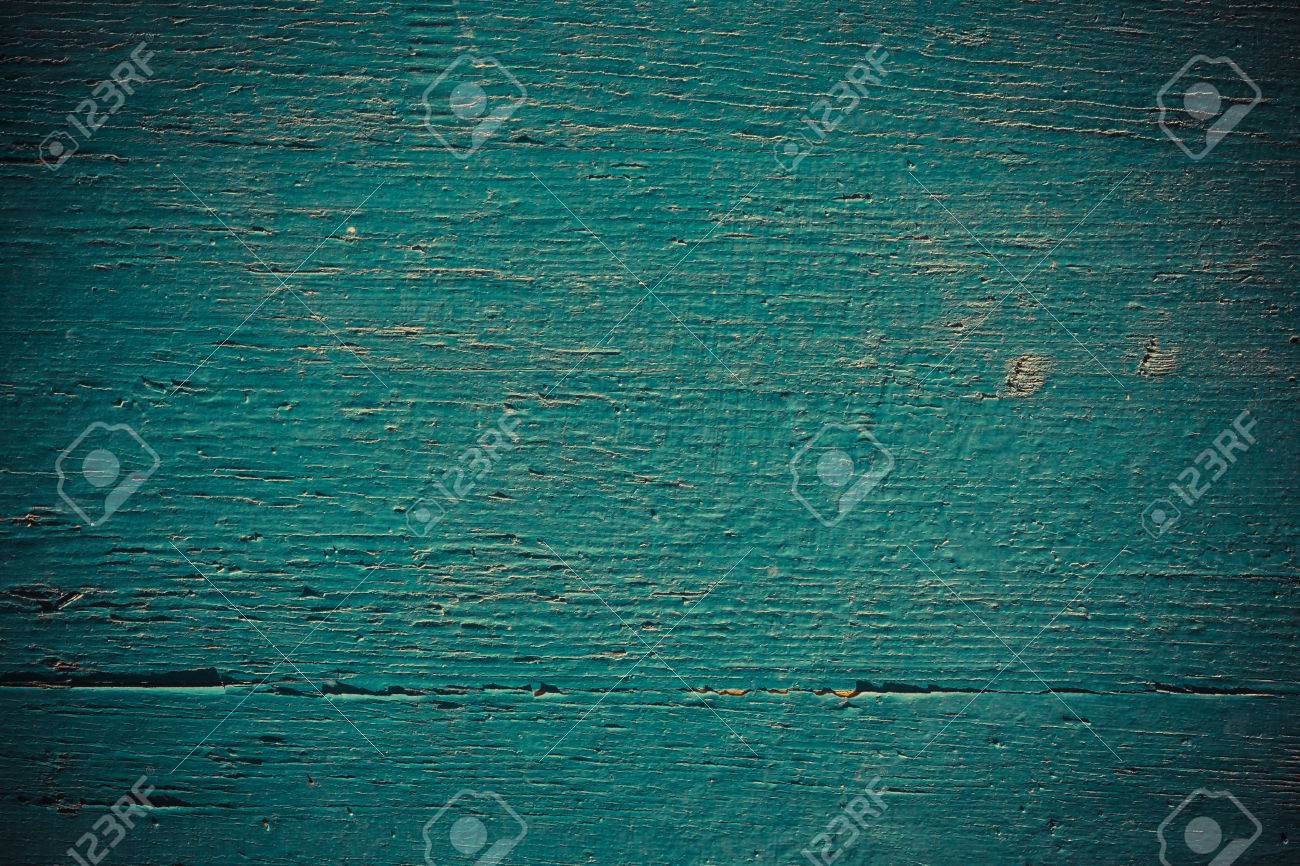 Wooden Wall Painted In Dark Turquoise Color Use For Background Stock Photo