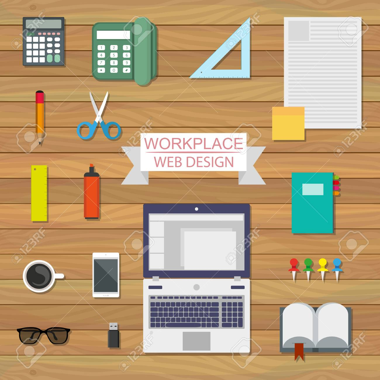 Flat Style Modern Office Workspace Equipment For Workplace Design