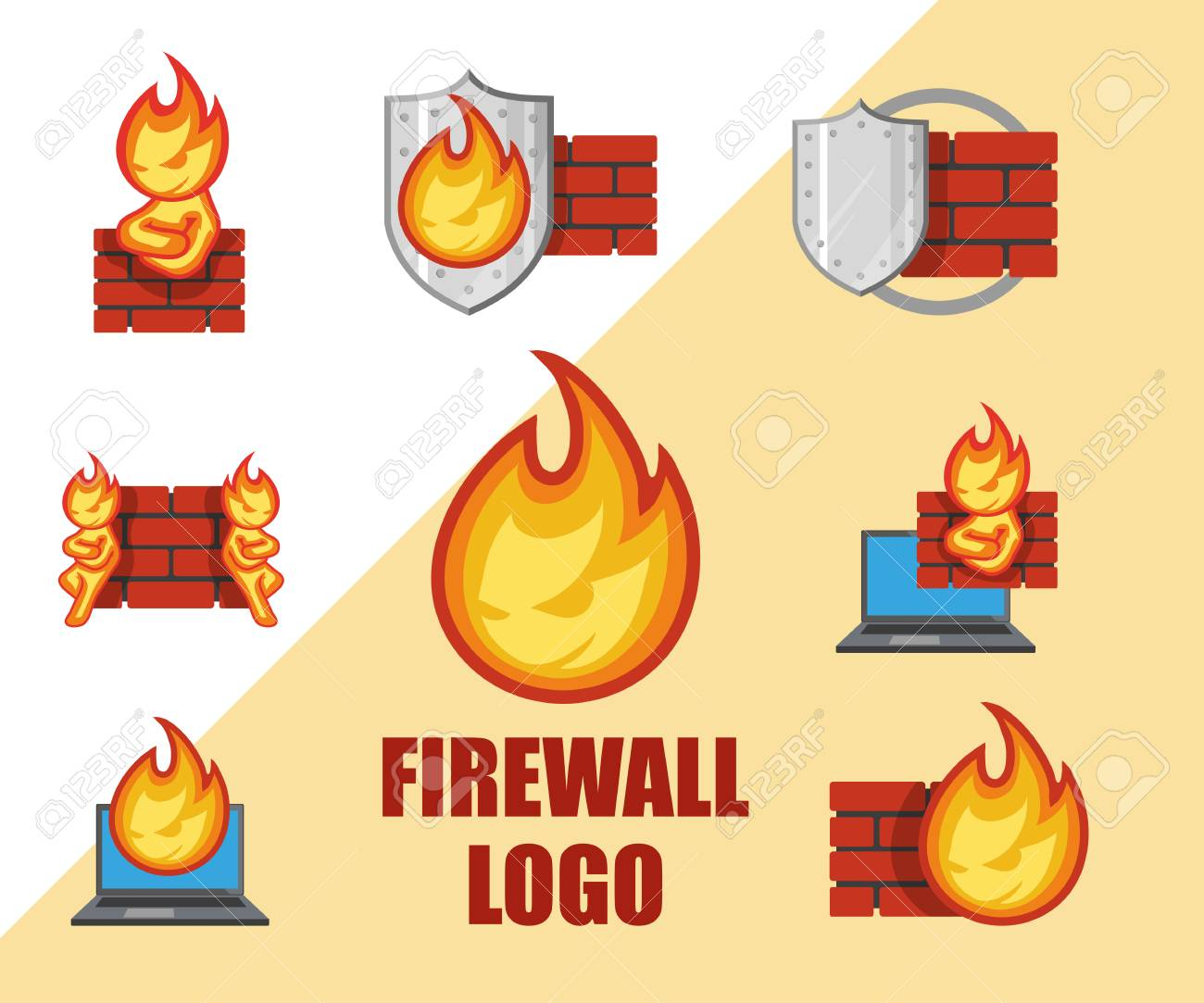 Set of Firewall logo  Protection logo Cyber ??security emblem