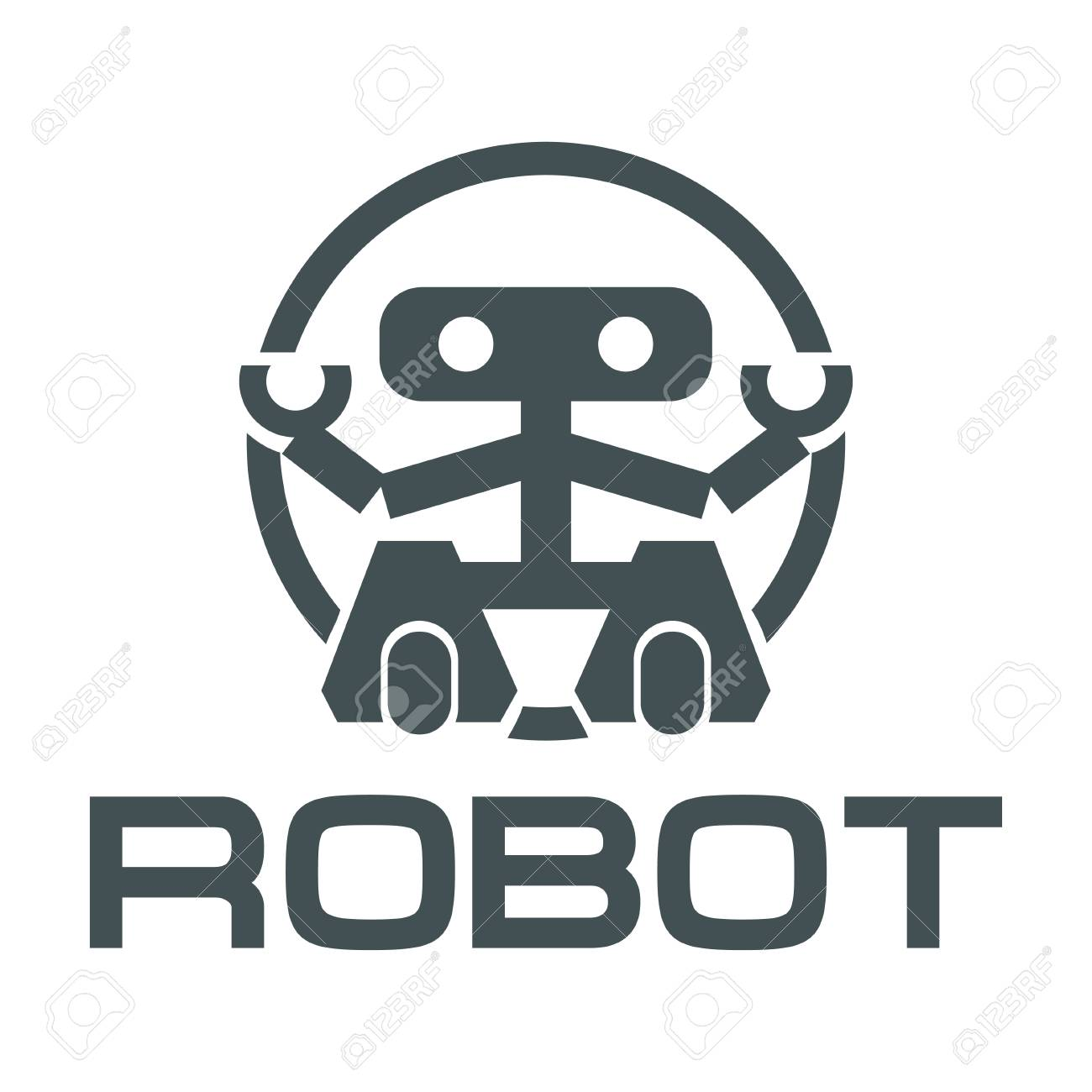 Robot Logo For Design Robotics Vector Graphics To Design Royalty
