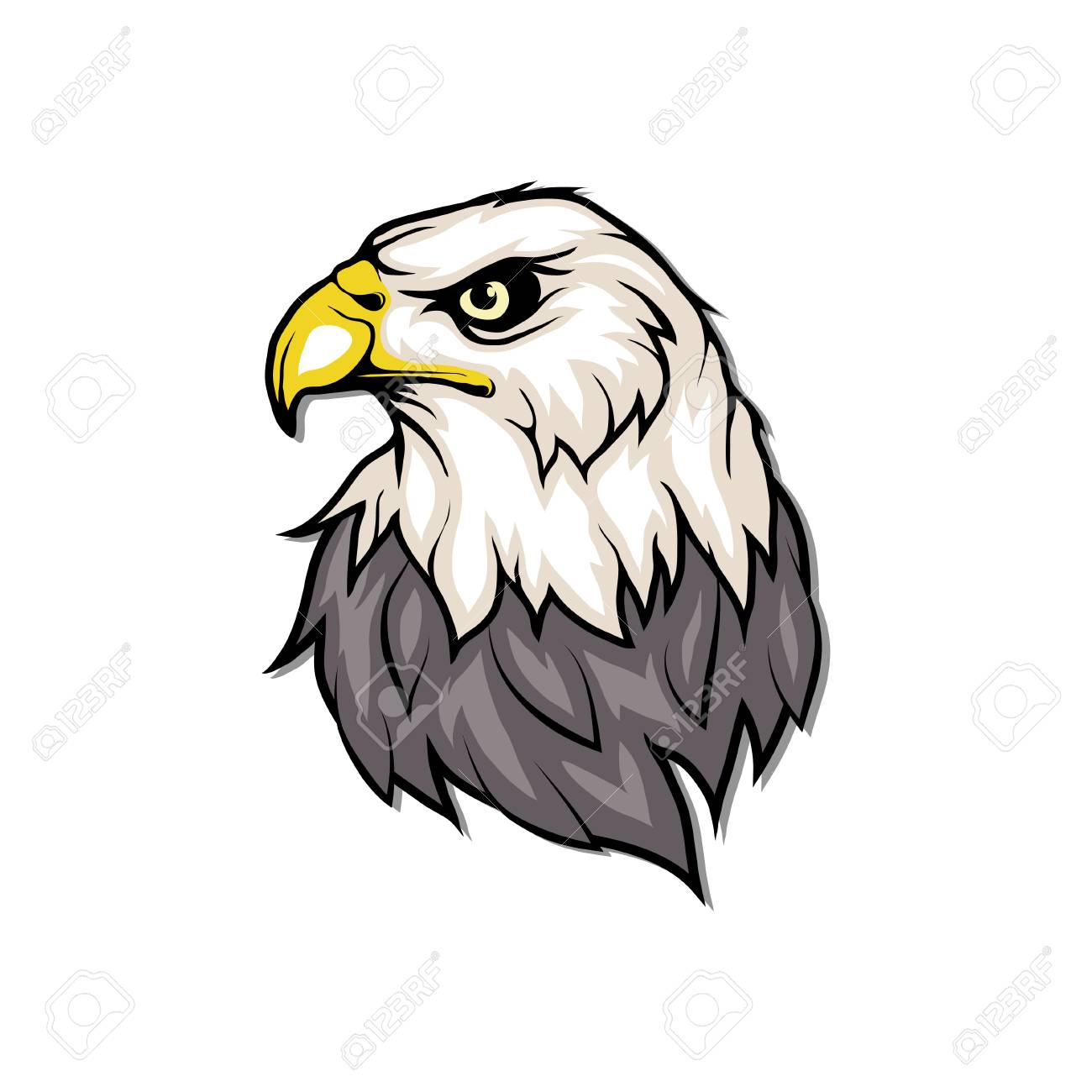 Bald eagle icon wild birds drawing head of an eagle vector graphics to