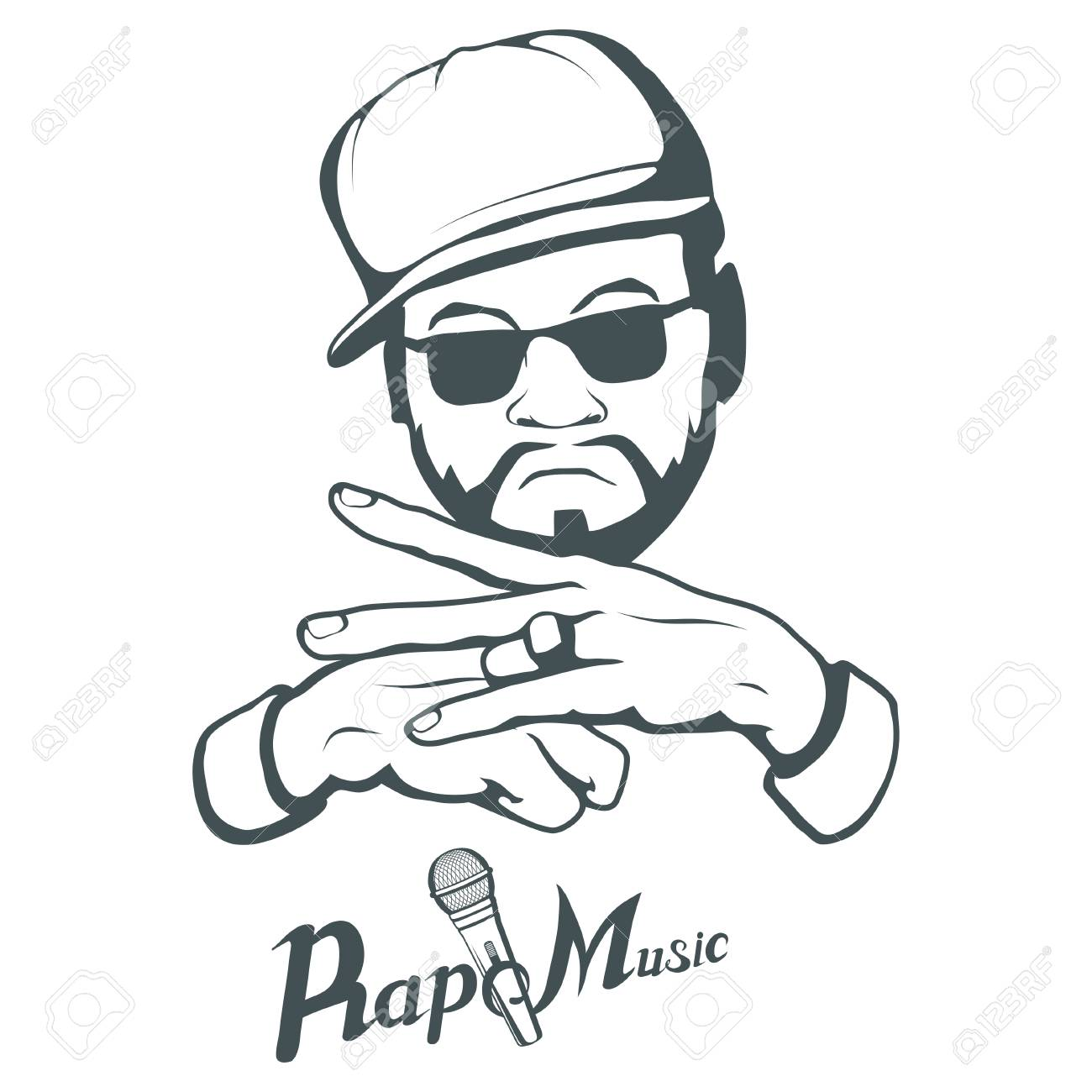 54afed54abf Rap music logo. Rapper skull on white background. Lettering with a  microphone. Vector