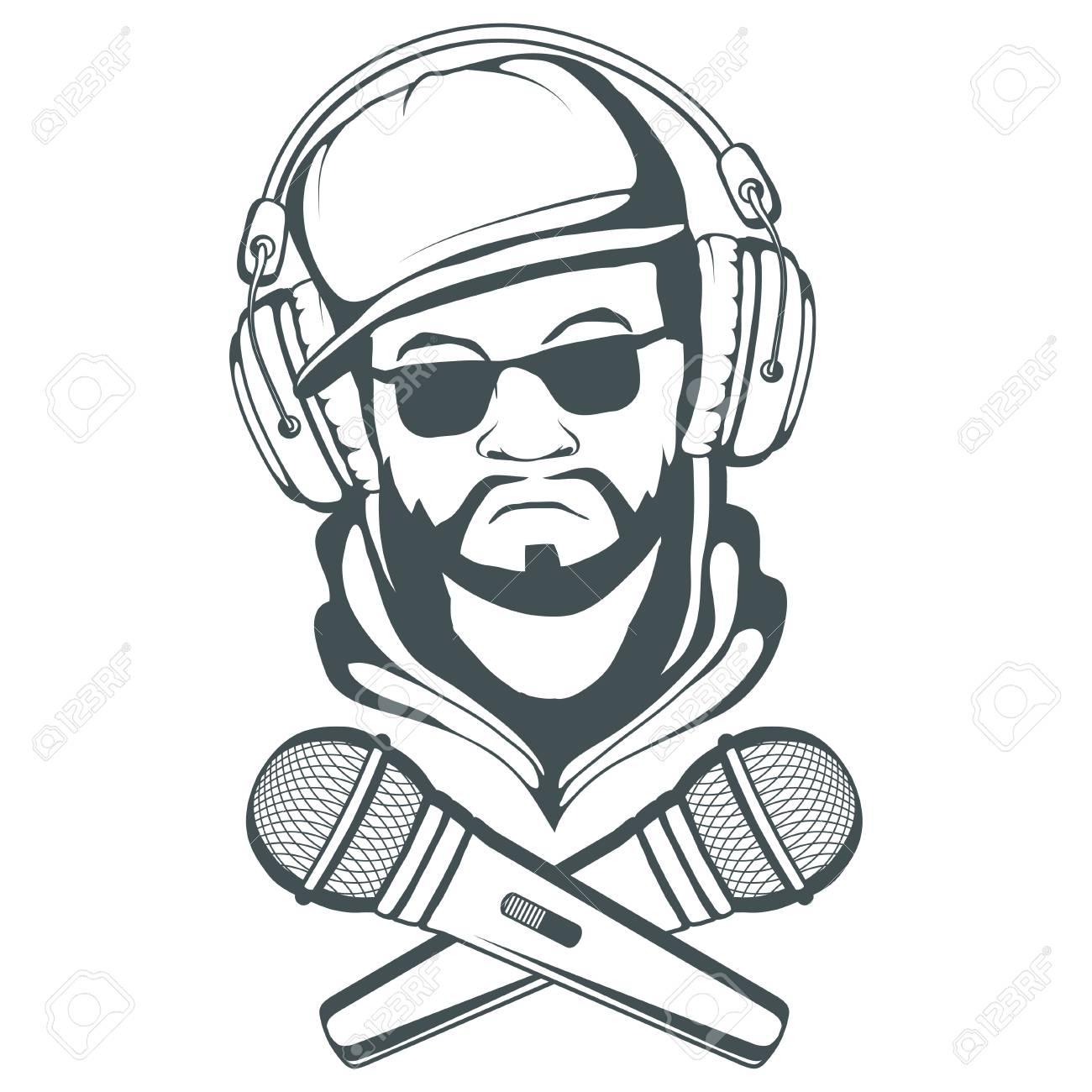 Rap music logo  Rapper skull on white background  Lettering with