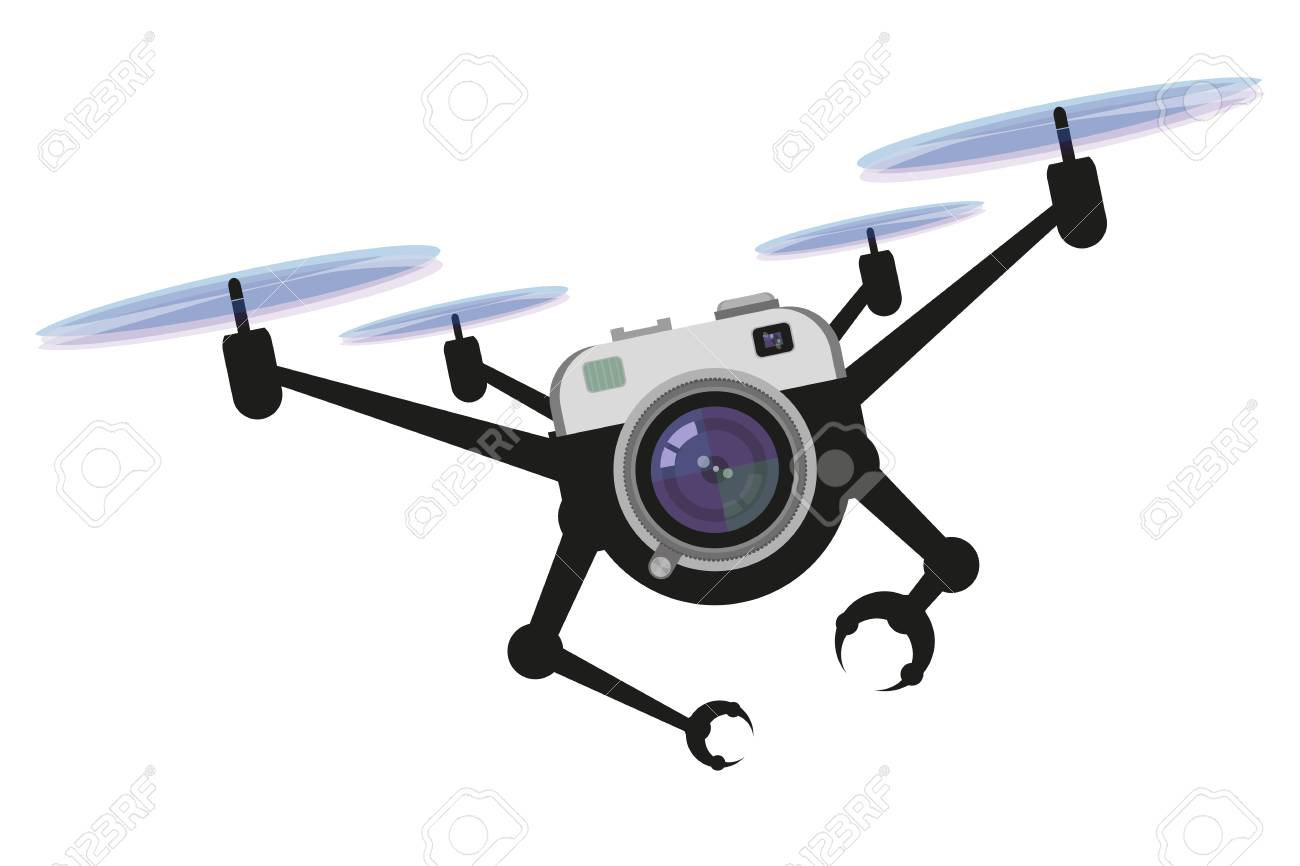Illustrations Of Drone Quadrocopter Drone With Camera Robotics