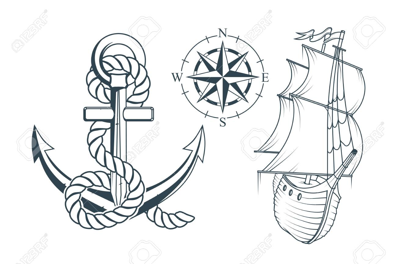 Set of different anchors for marine design  Illustration of a