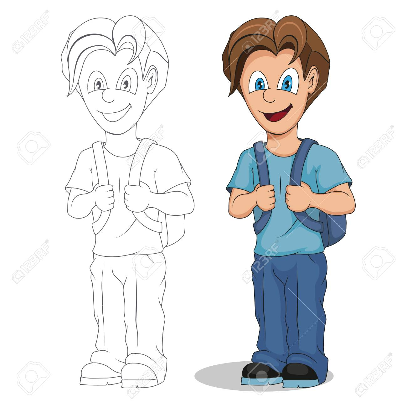 Back To School Cartoon School Boy Hand Drawing Of A Student