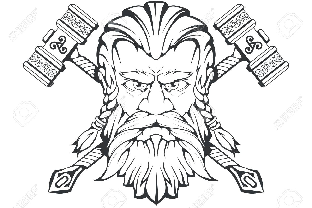 Scandinavian god of thunder and storm hand drawing of thors