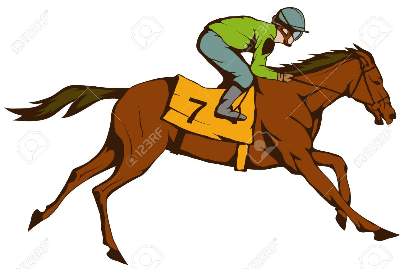 Horse Racing Jockey On Racing Horse Running To The Finish Line Royalty Free Cliparts Vectors And Stock Illustration Image 110278414