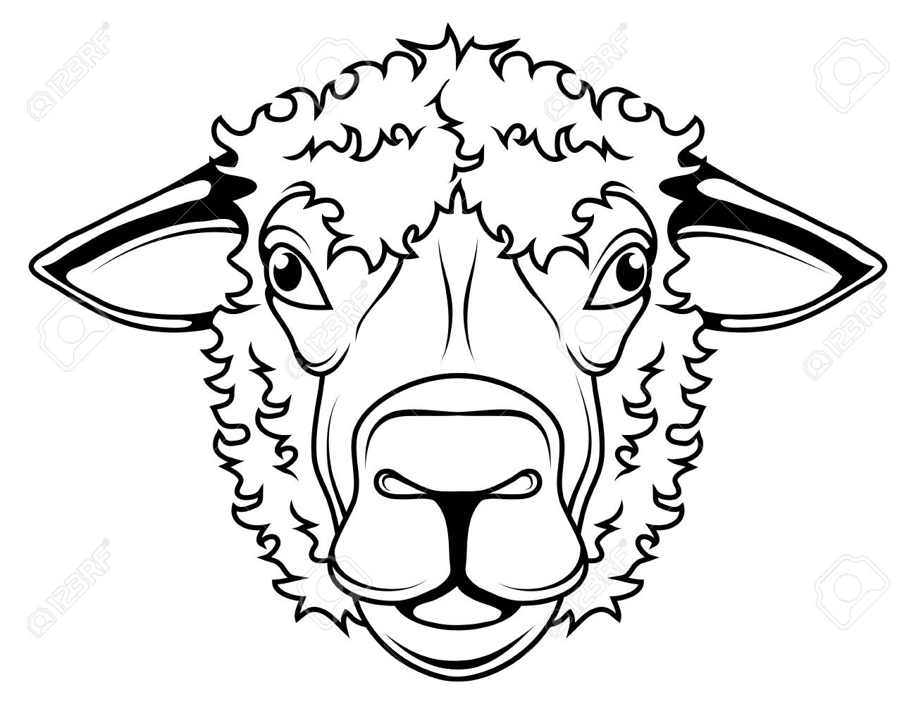 Sheep Vector Drawing Sheep Head Drawing Sketch Sheep In Black Royalty Free Cliparts Vectors And Stock Illustration Image 124802447