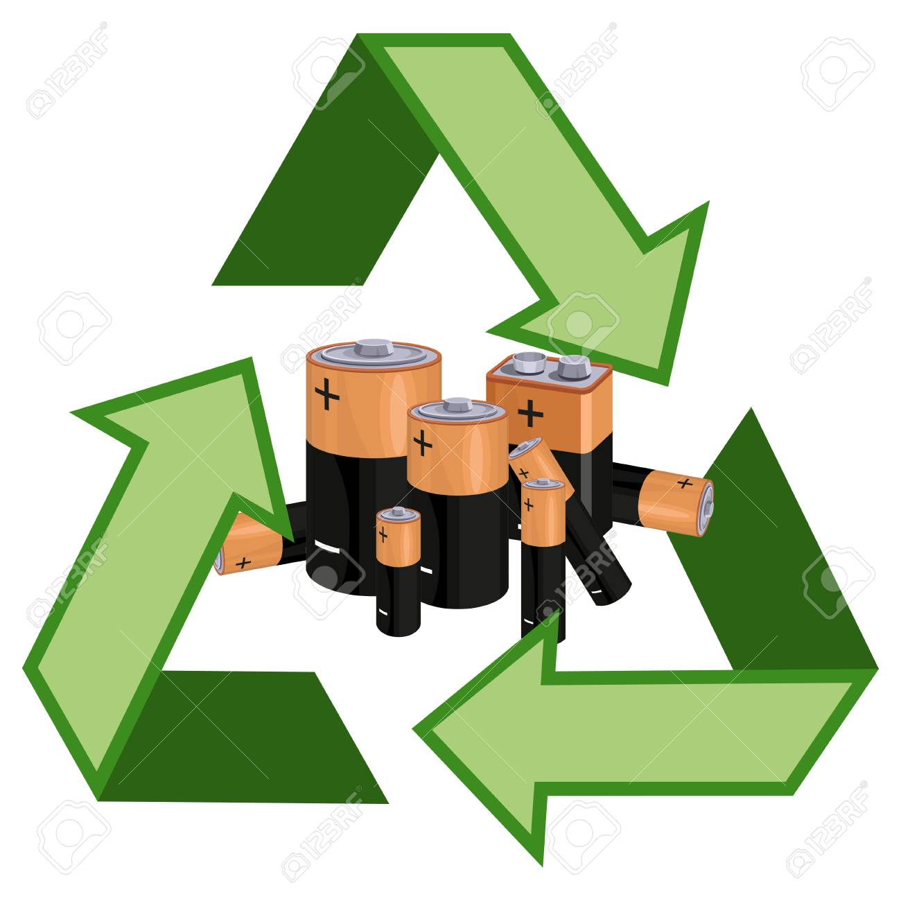 concept of recycle used batteries recycling symbol with used royalty free cliparts vectors and stock illustration image 124802898 concept of recycle used batteries recycling symbol with used
