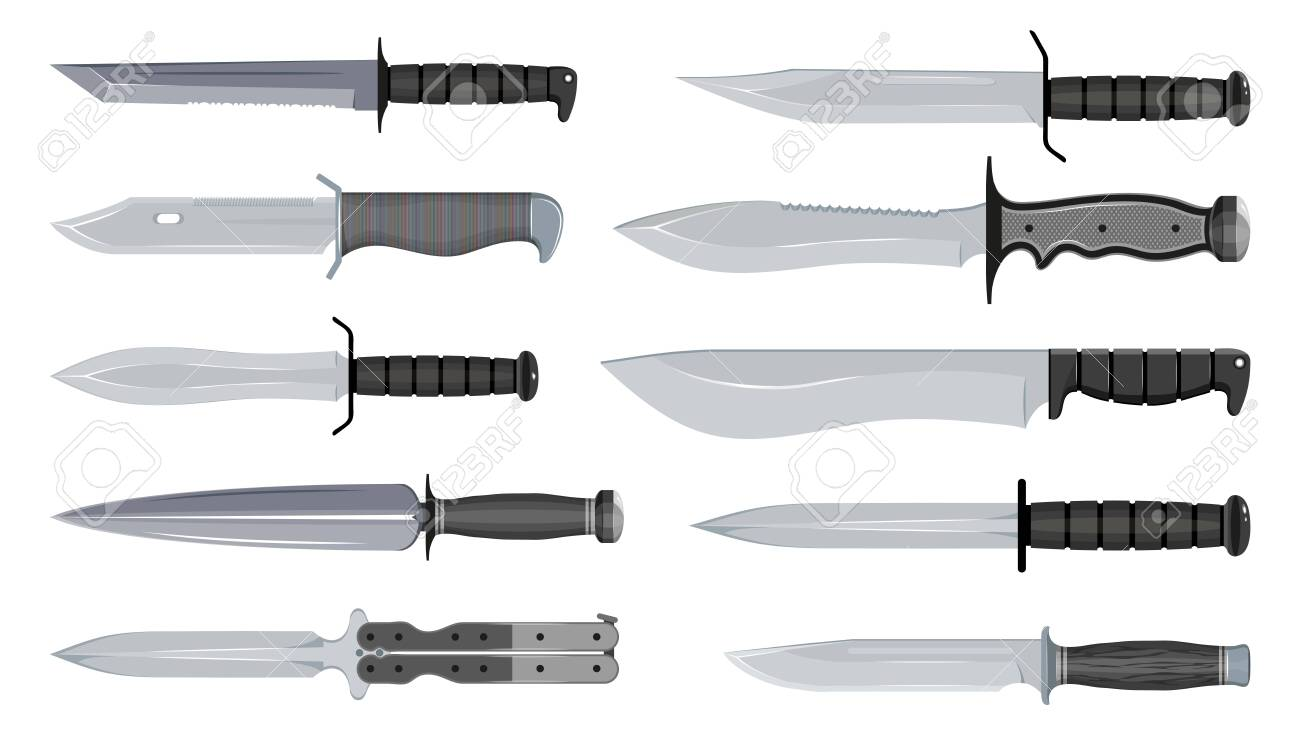 Types Of Military Knives Typical Hunter Knives Blade Types Royalty Free Cliparts Vectors And Stock Illustration Image 133218499