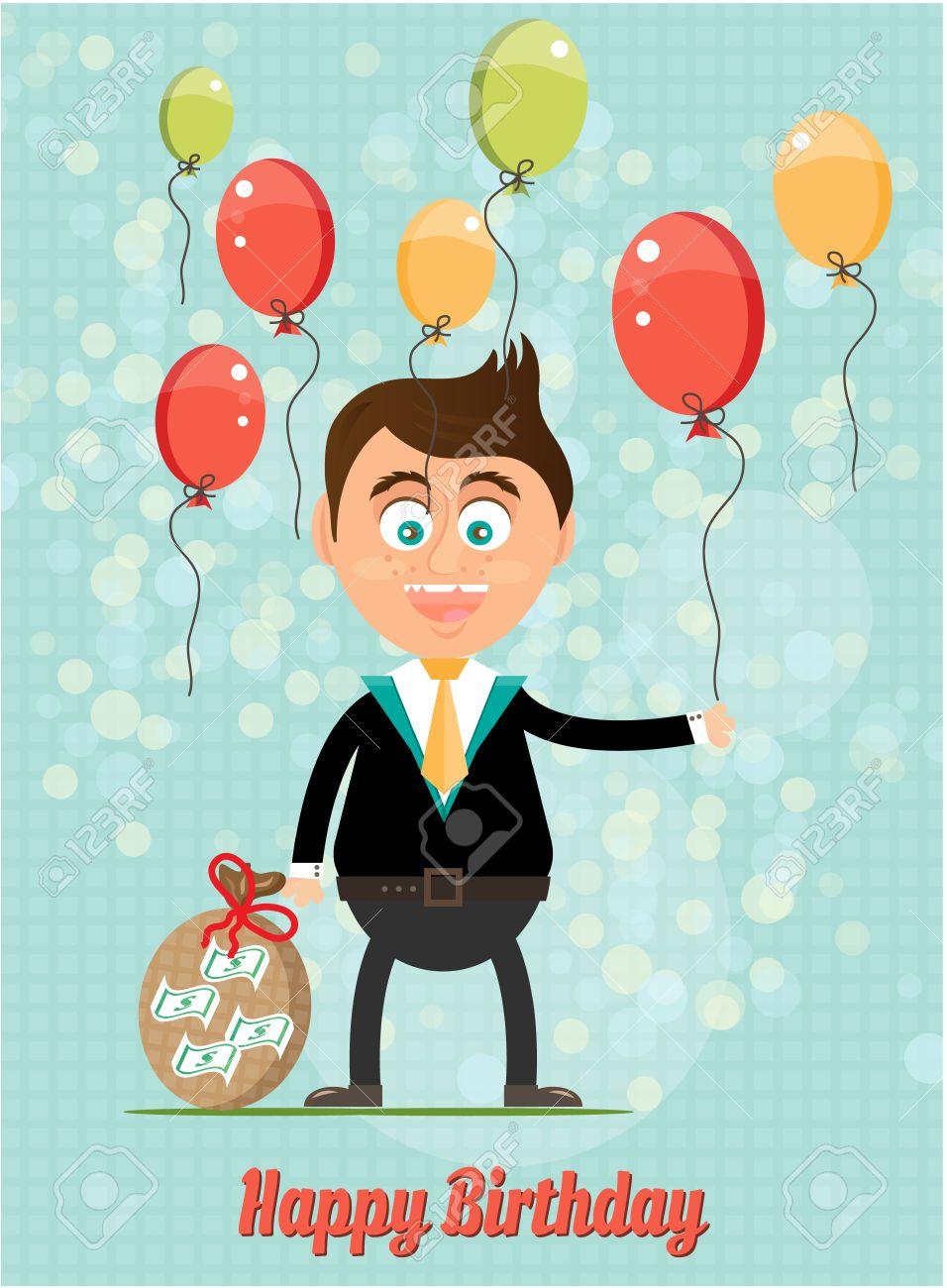 Tarjeta De Cumpleanos Con La Sonrisa Del Hombre Con Dinero Globos