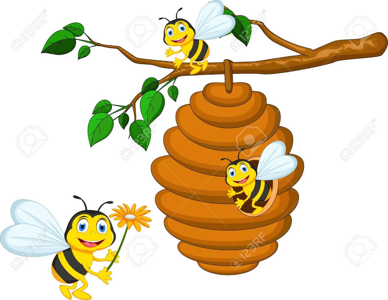 abejas de dibujos animados explotacin flor y una colmena foto de archivo 49817626