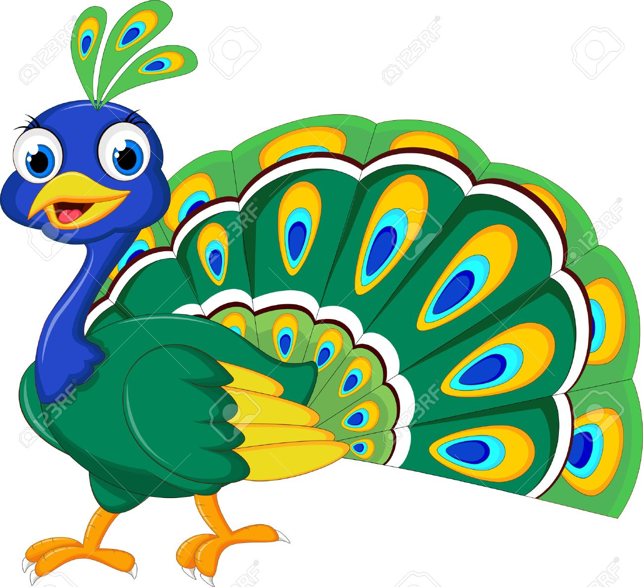 peacock cartoon for you design royalty free cliparts vectors and rh 123rf com cartoon peacock running cartoon peacock swimming