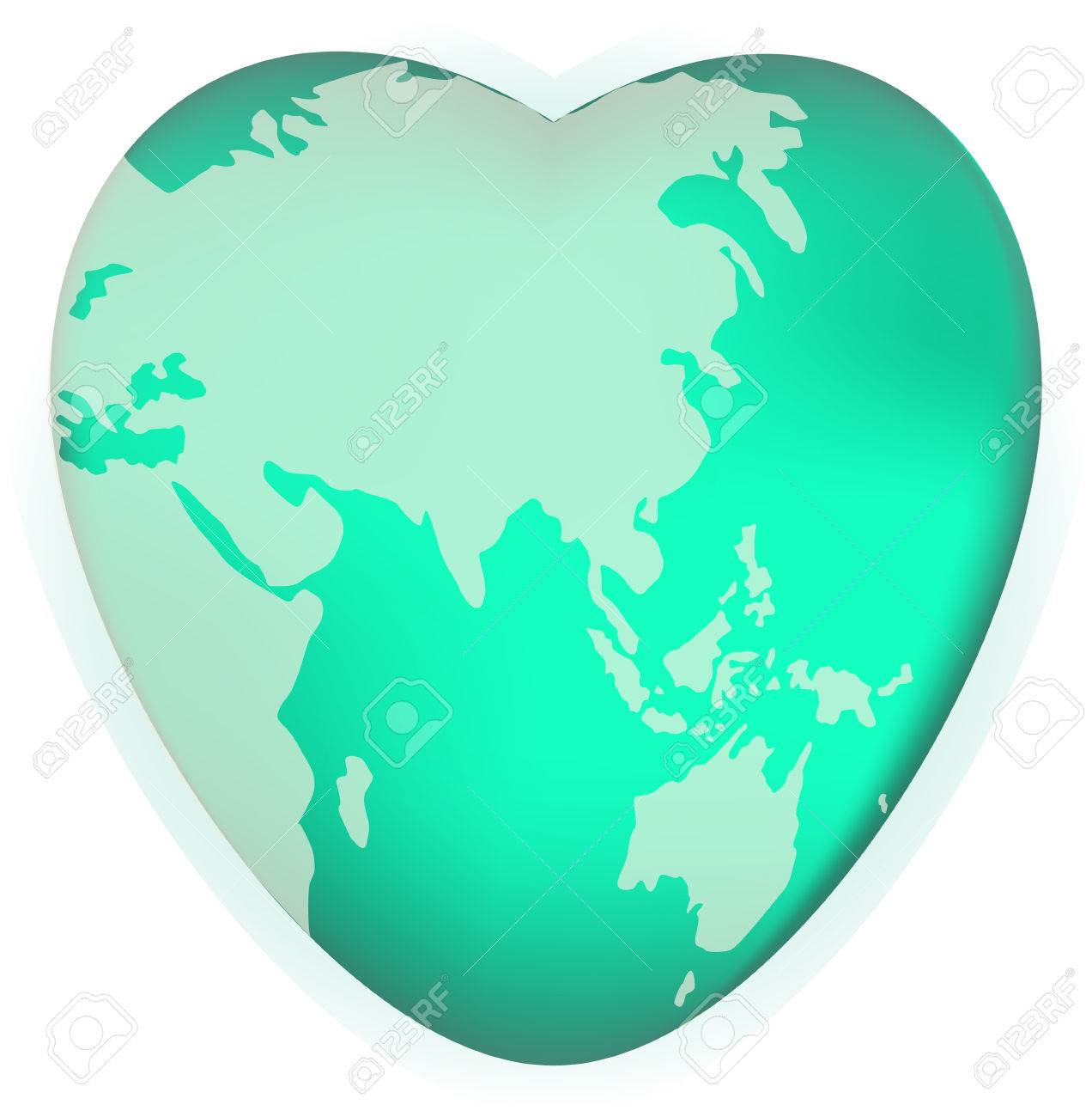 A World Globe In The Shape Of A Heart Symbol Concept For Loving