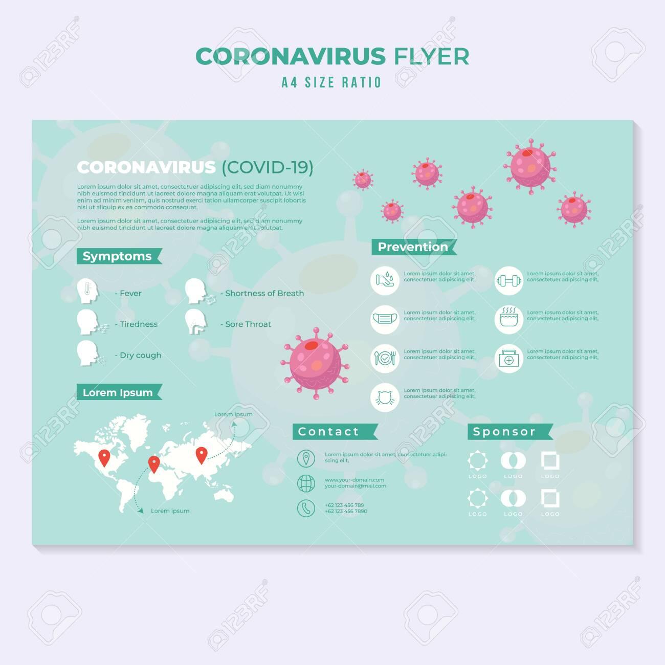 corona virus pandemic flyer education template infographic - 144506912