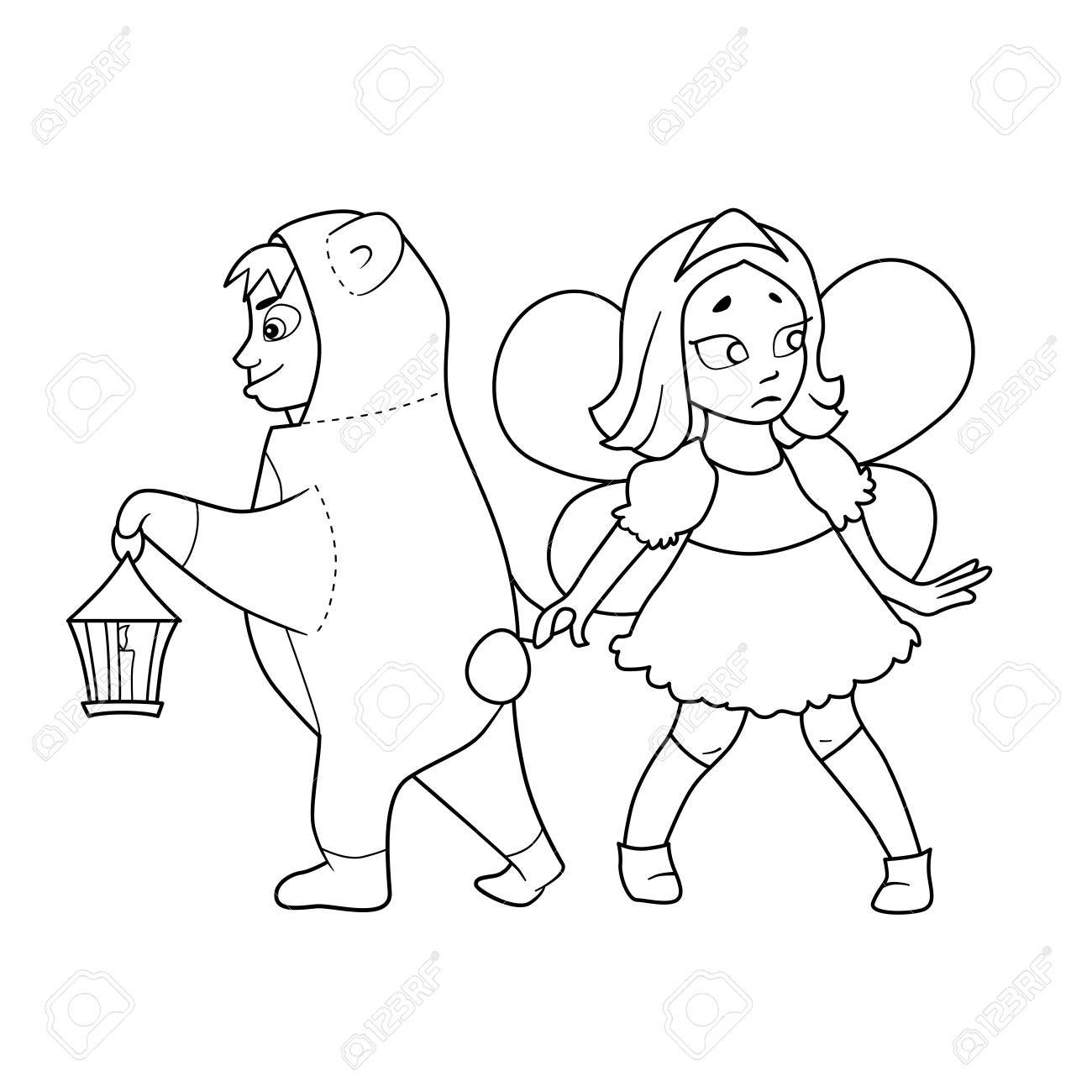 Libro Para Colorear Con Dibujos Animados De Niño En Traje De Oso Con ...