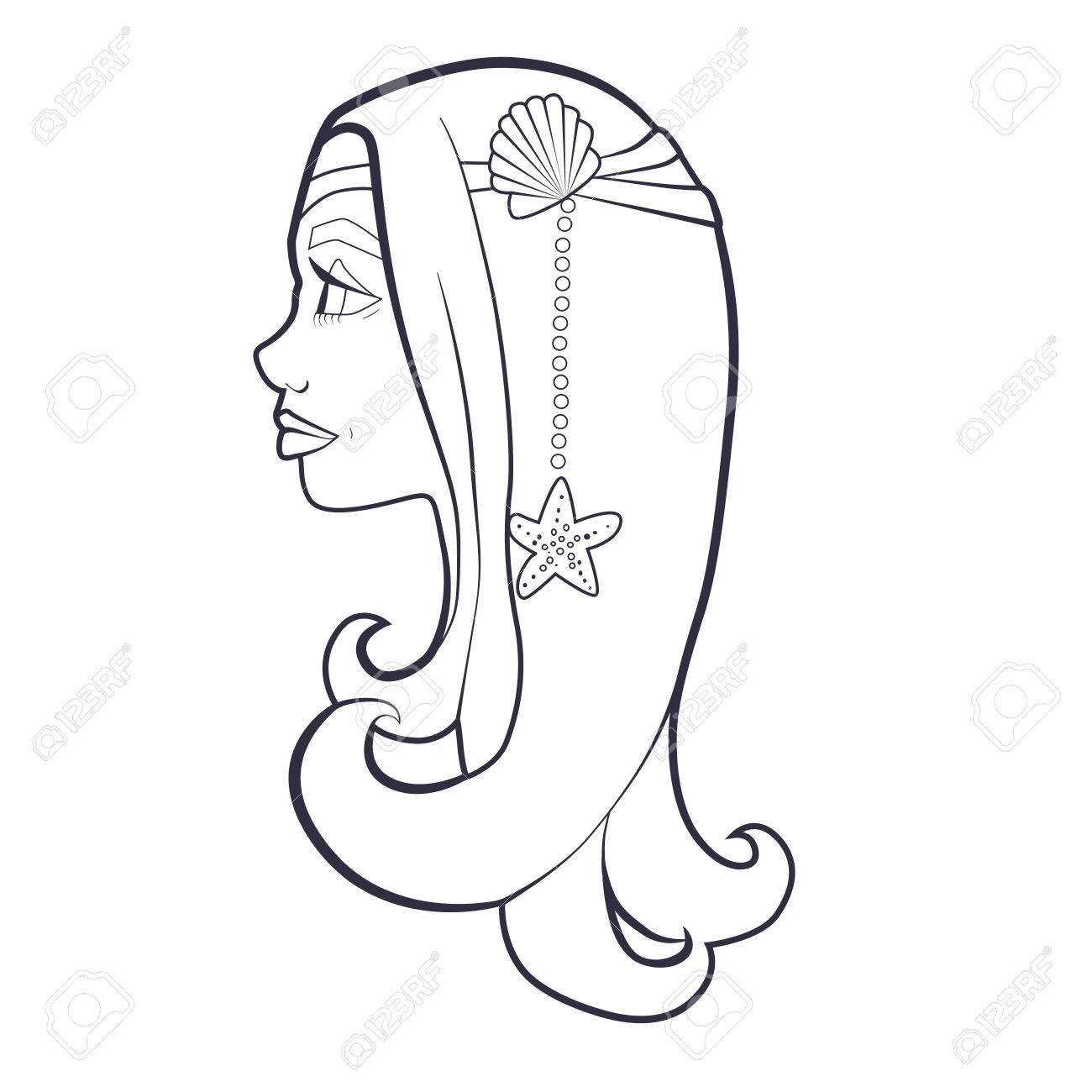 Coloriage Etoile De Mer Et Coquillage.Coloriage Livre Avec Dessin D Une Fille Avec Coquillage Et Etoile De Mer Dans Les Cheveux