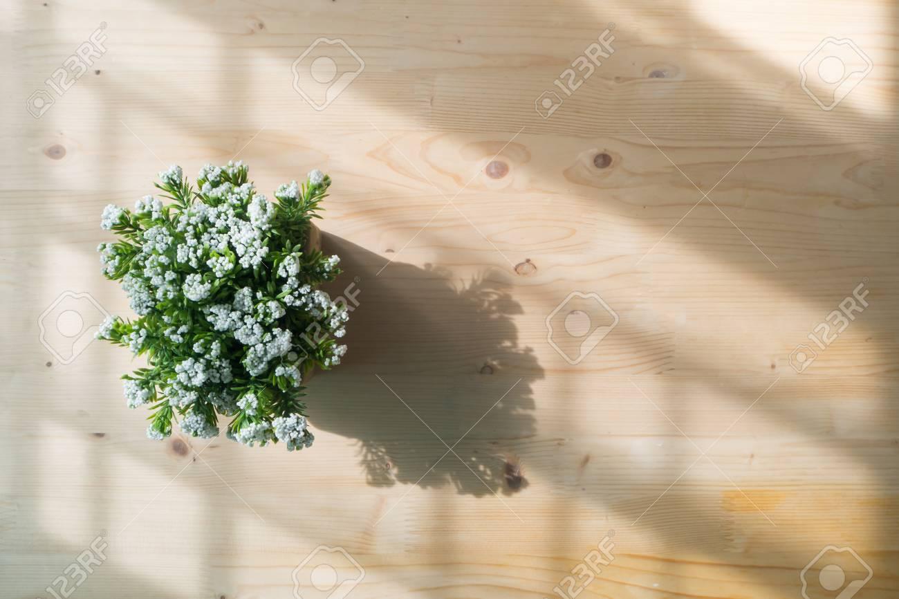 Table En Bois Avec Petite Fleur Blanche Artificielle Sur Le Pot Vue