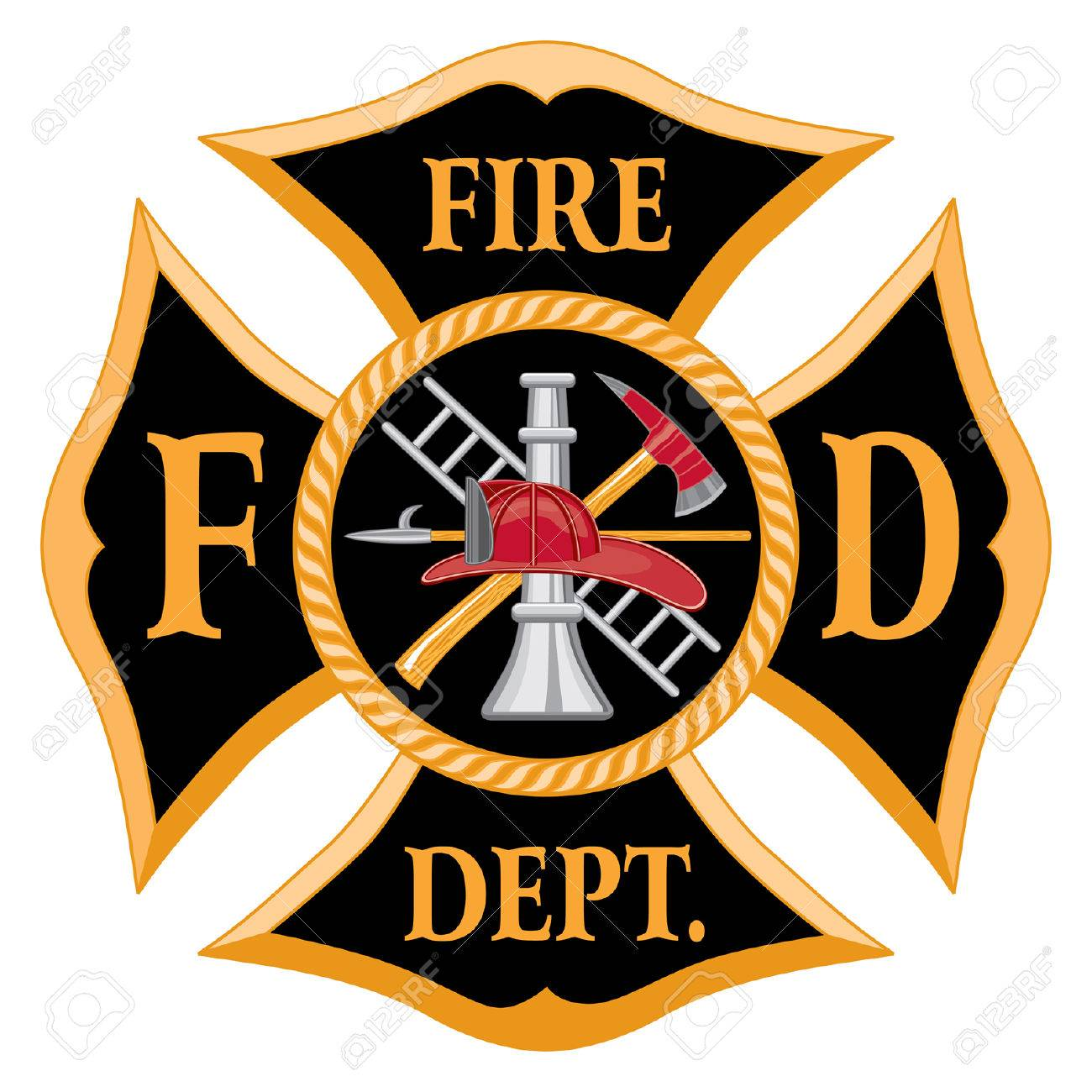 fire department or firefighter s maltese cross symbol is six rh 123rf com