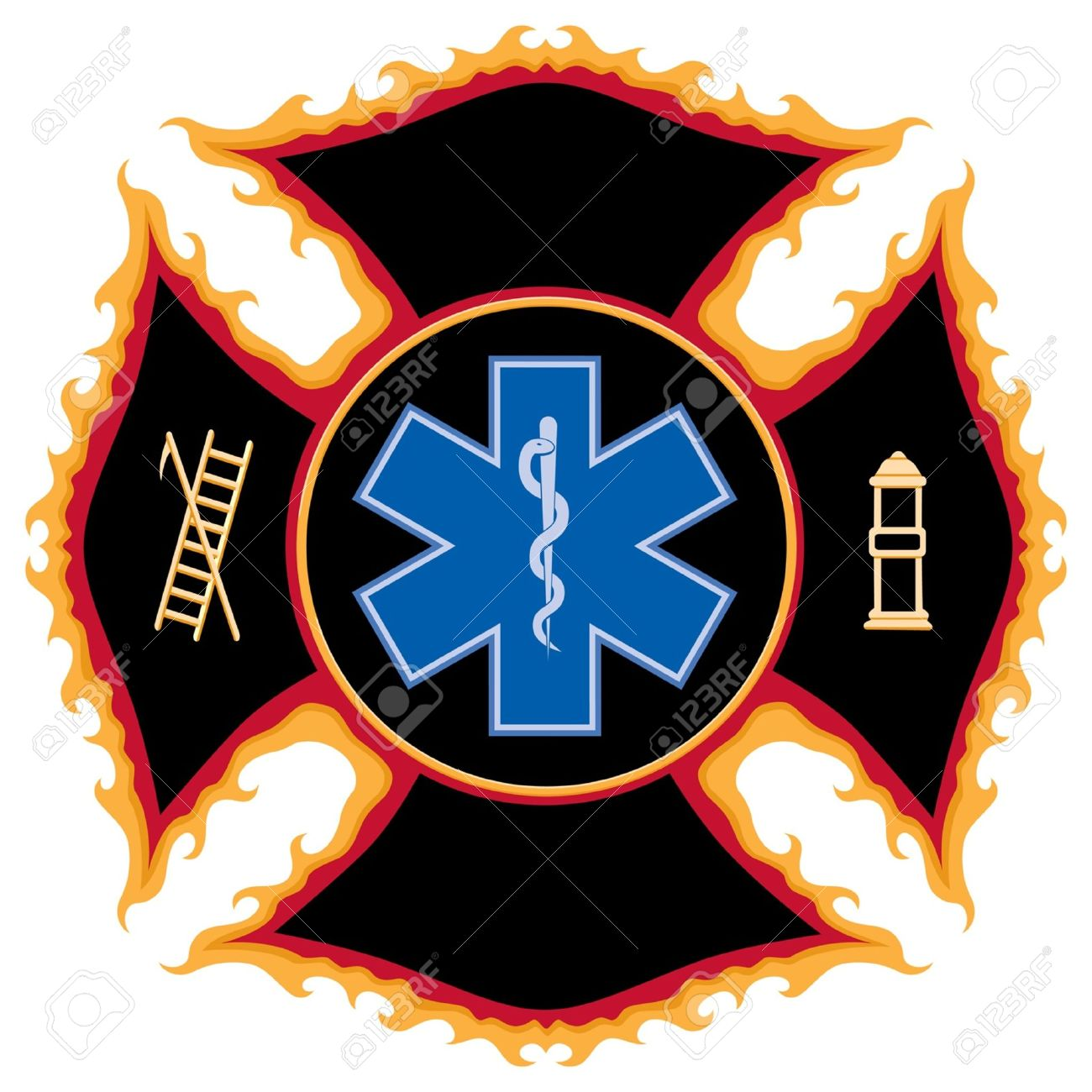 flaming fire and rescue maltese cross symbol royalty free cliparts rh 123rf com