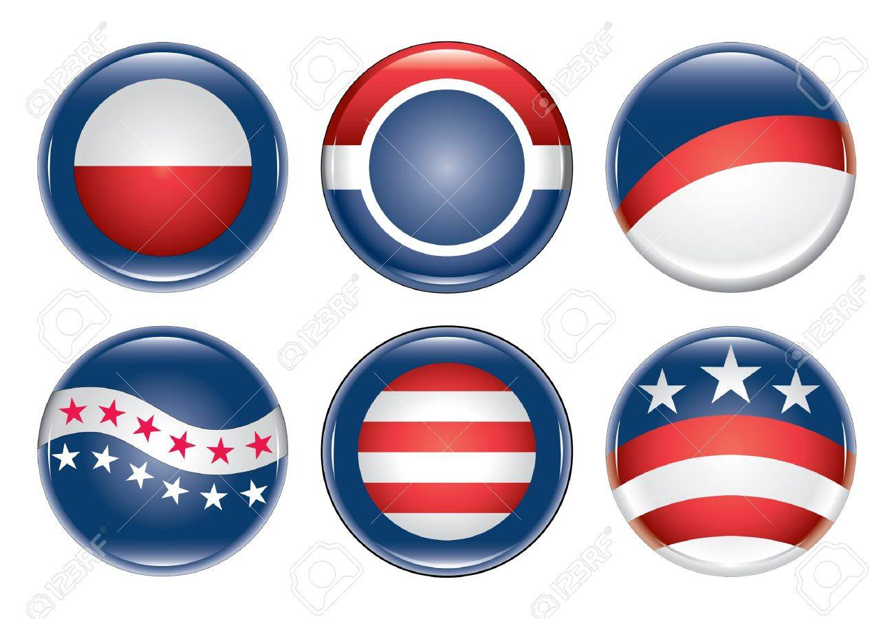 Campaign Buttons Blank is an illustration of six blank United States election campaign buttons. Stock Vector - 9884026