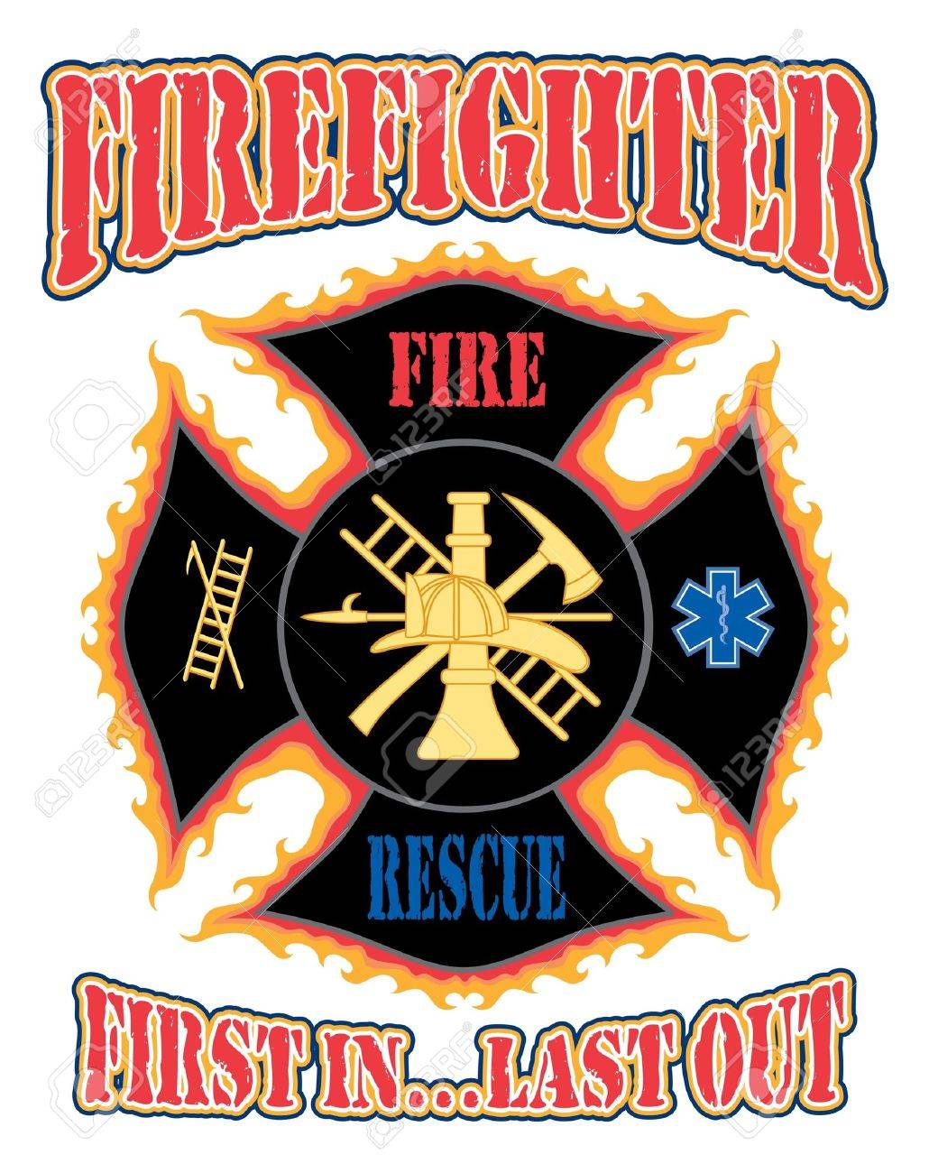 Firefighter first in design is an illustration of a flaming firefighter first in design is an illustration of a flaming firefighter cross with symbols for firefighting buycottarizona Choice Image