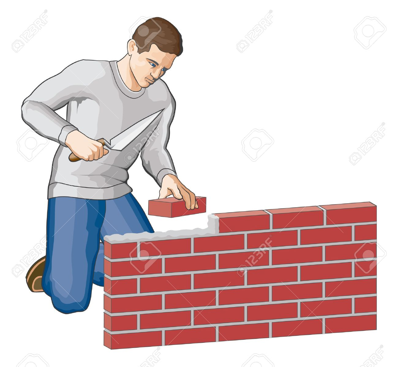 Bricklayer Is An Illustration Of A Man Building Brick Wall Stock Vector