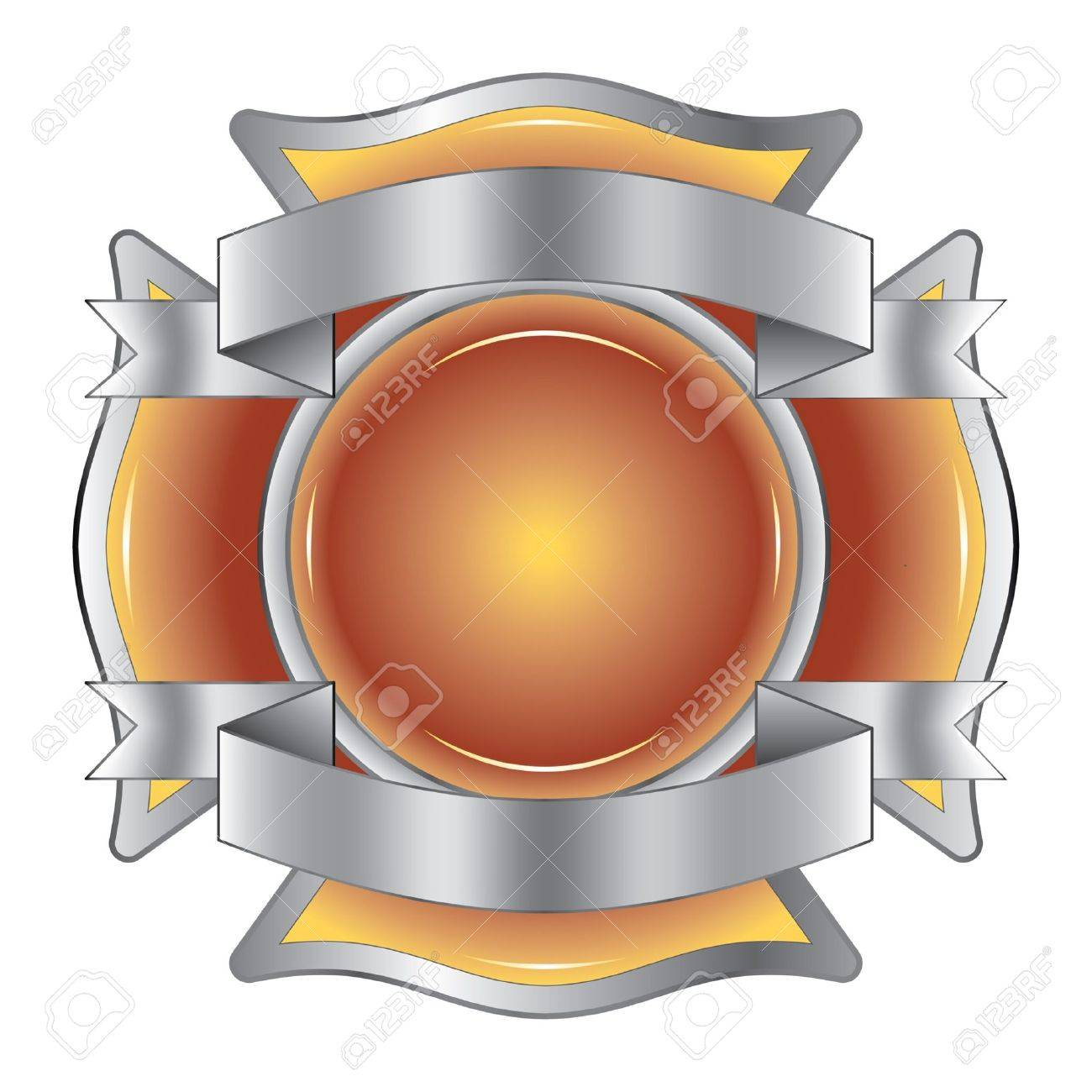 Firefighter Cross with Ribbons is an illustration of a firefighter Maltese cross made of gemstone with silver ribbons at the top and bottom. Stock Vector - 11986183