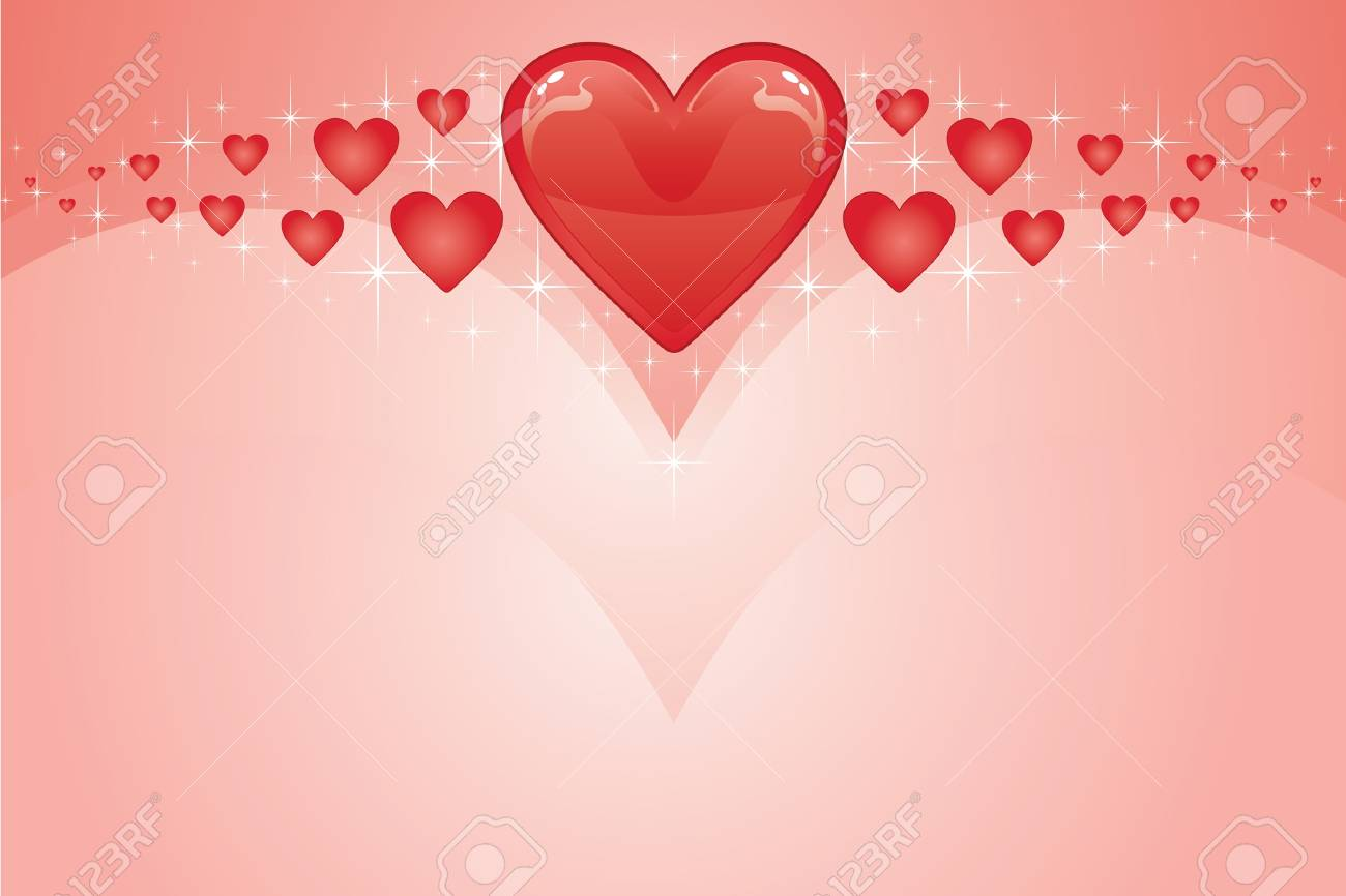Valentines Card is an illustration of a Valentines Day Card with red Valentine hearts Stock Vector - 13607905