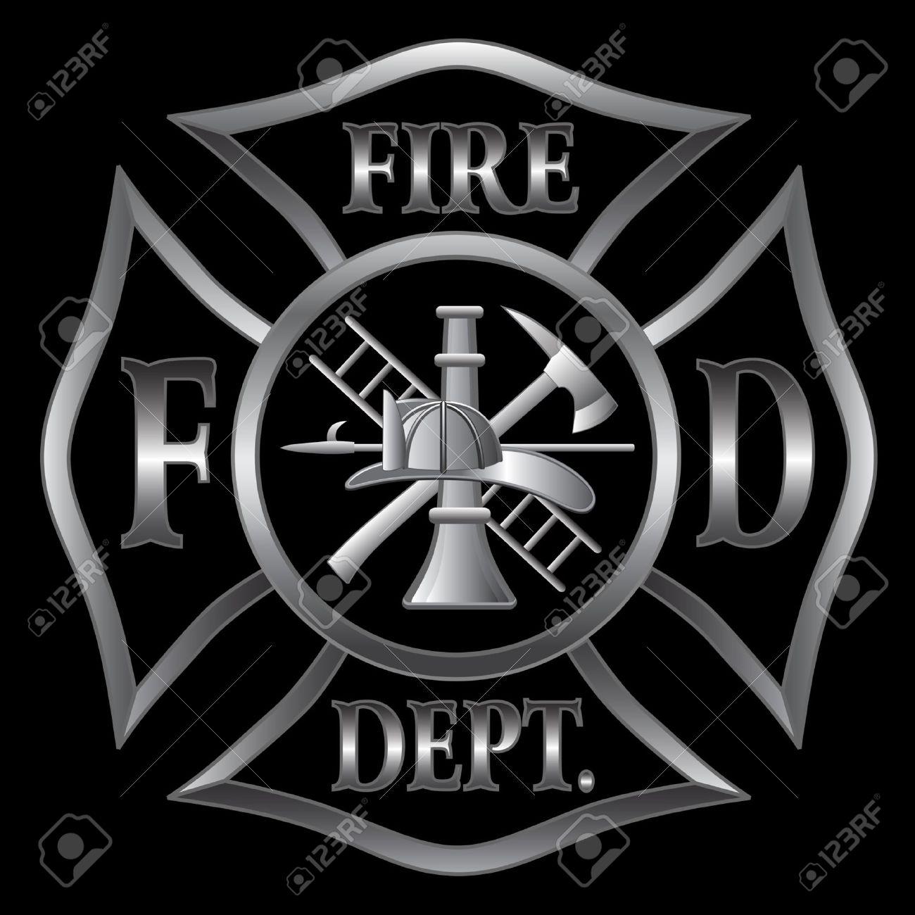Fire department or firefighter s maltese cross symbol in silver fire department or firefighter s maltese cross symbol in silver on black background stock vector biocorpaavc