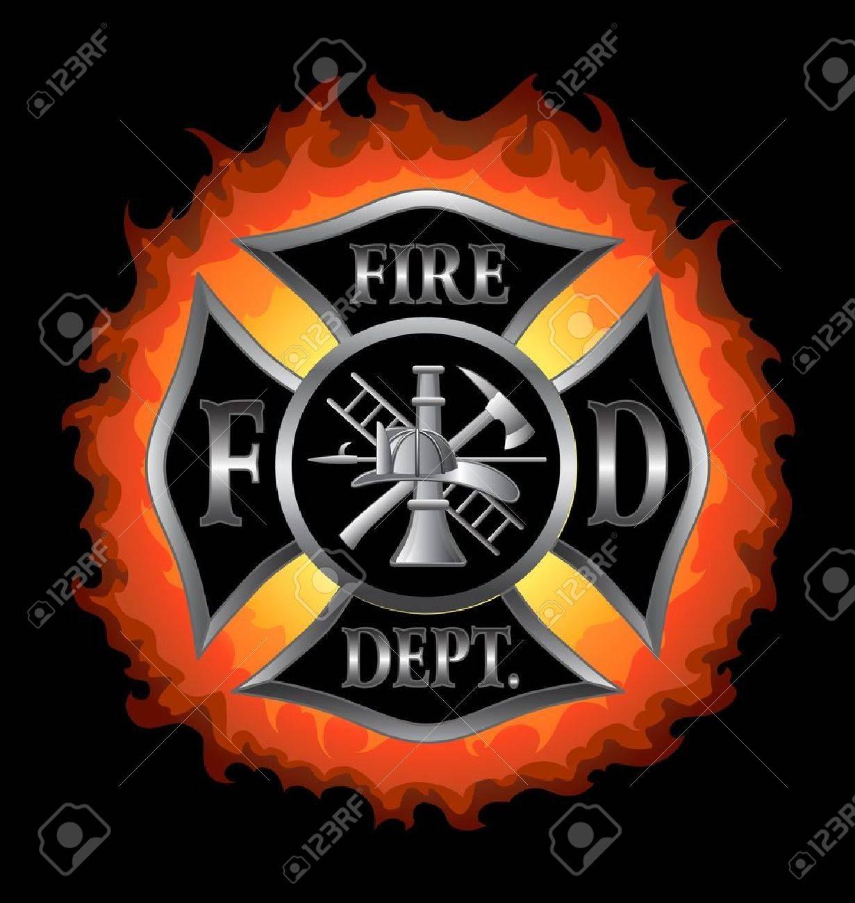 Fire department or firefighter s maltese cross symbol in silver fire department or firefighter s maltese cross symbol in silver with flaming background illustration biocorpaavc