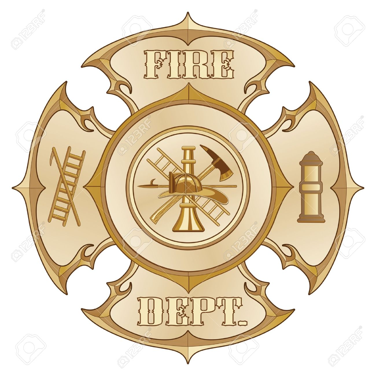 Fire Department Cross Vintage Gold is an illustration of a vintage