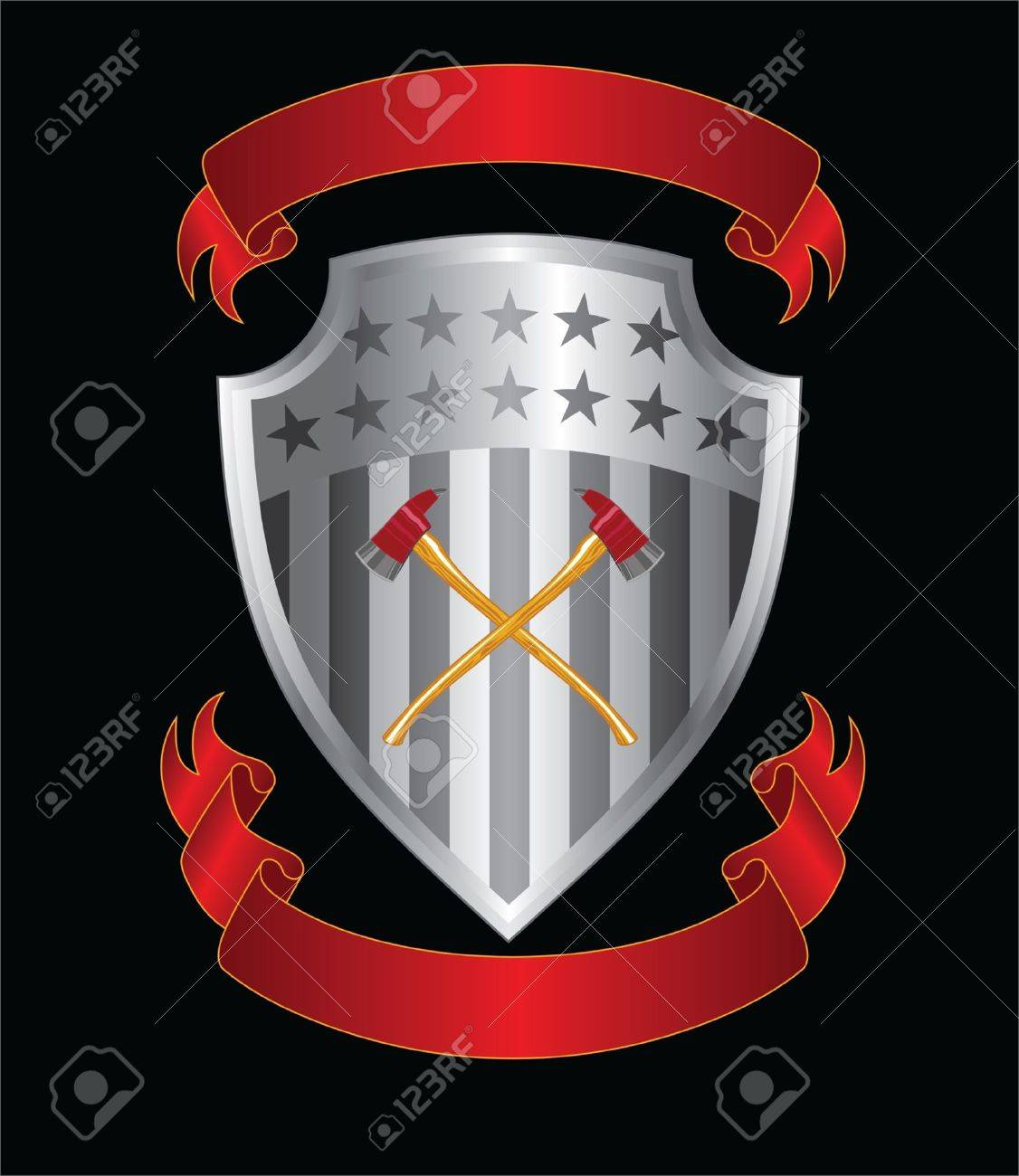 Firefighter Axes On Shield is an illustration of a silver stars and stripes shield with crossed firefighter axes and two ribbons or banners. Stock Vector - 16536534