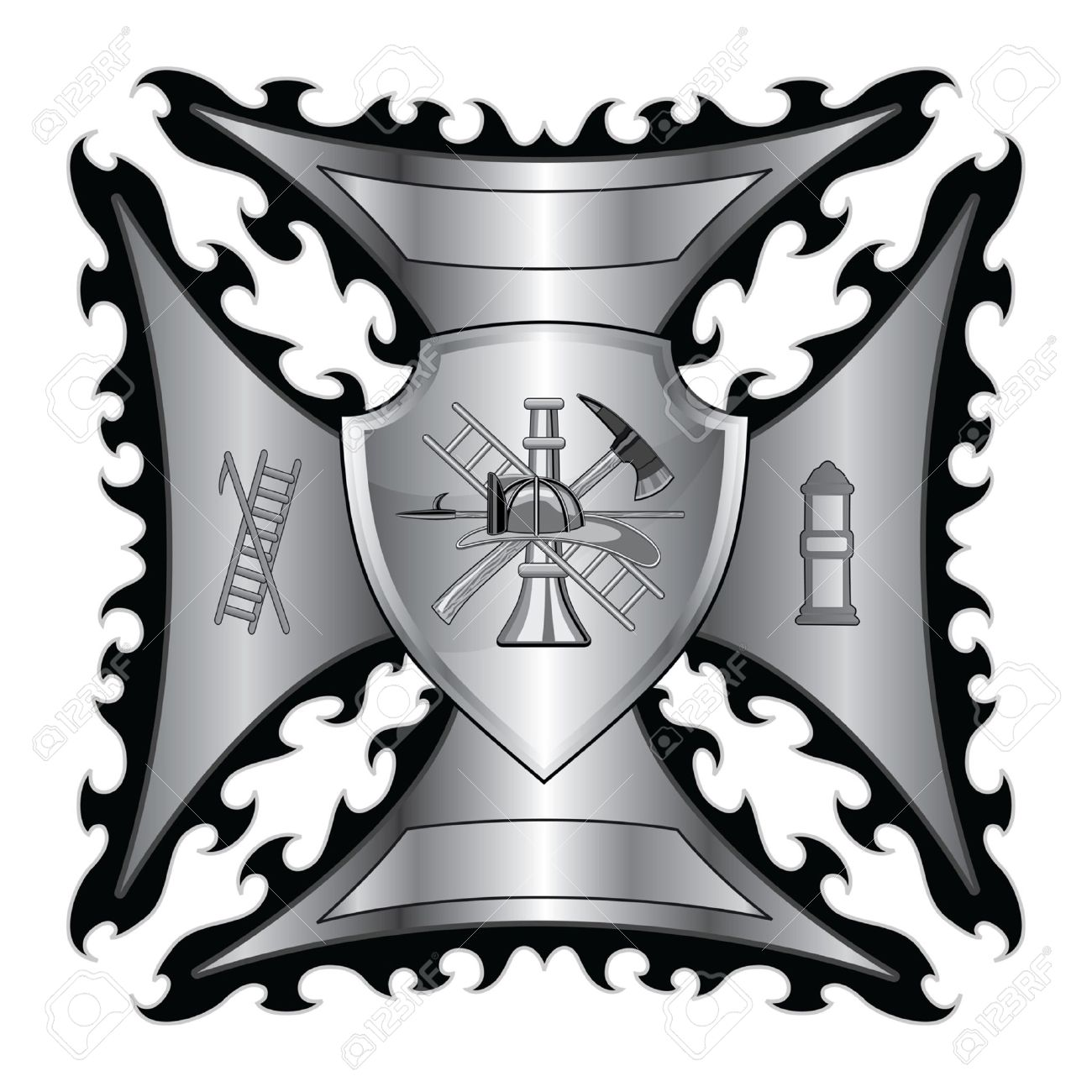 Lovely Firefighter Cross Silver With Shield Is An Illustration Of A  FB88