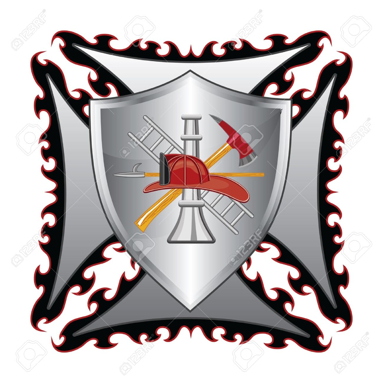 Firefighter Cross With Shield is an illustration of a fire department or firefighter�s  Maltese cross symbol with shield and firefighter logo. Stock Vector - 16797797