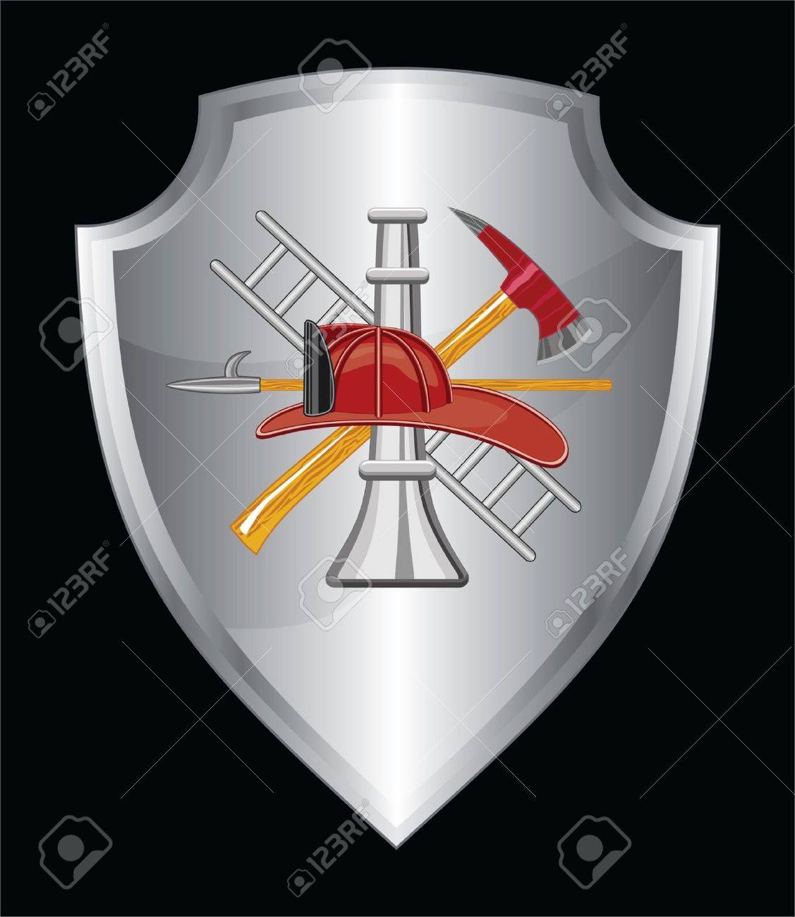 Firefighter Icon On Shield is an illustration of a shield with firefighter logo Stock Vector - 16899322