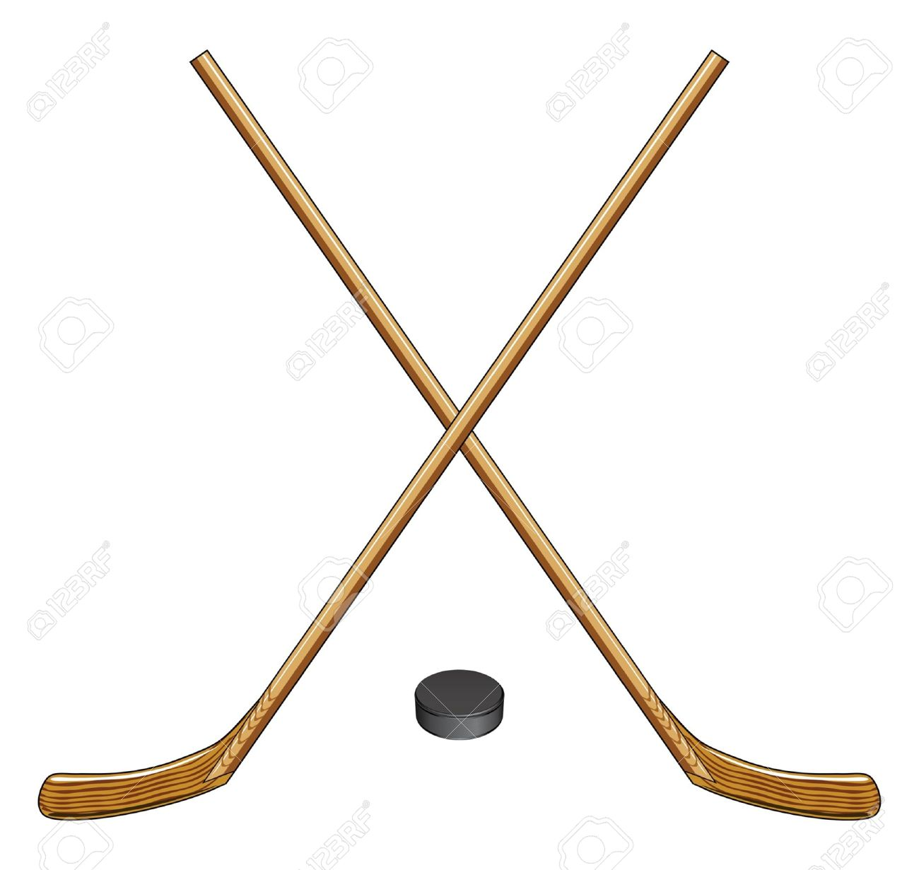 Ice Hockey Sticks and Puck is an illustration of two crossed ice hockey sticks and a hockey puck  Great for logos and t-shirts Stock Vector - 17172260