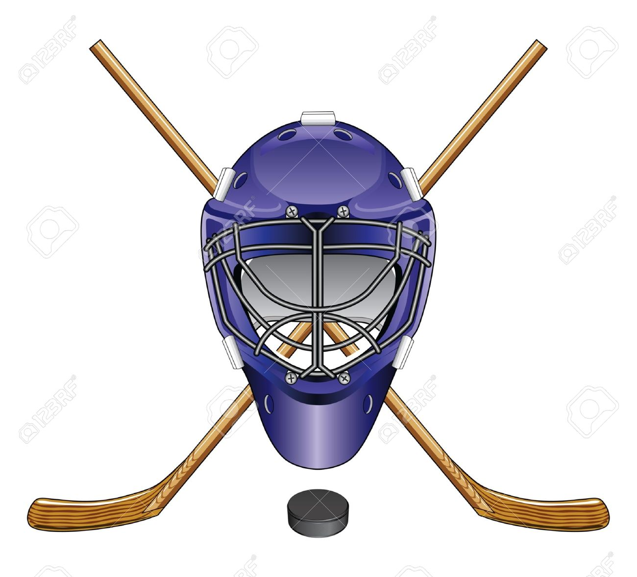 Ice Hockey Goalie Mask Sticks And Puck Is An Illustration Of