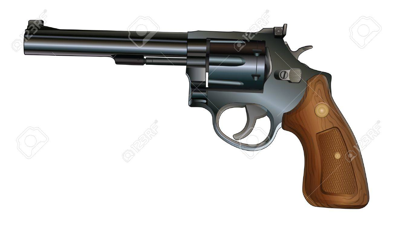 Revolver is an illustration of a revolver style handgun  Black with wood grip Stock Vector - 17766065