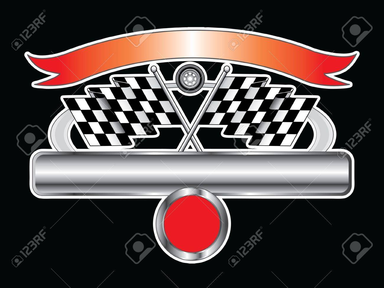 racing design with chrome banner is an illustration of a racing