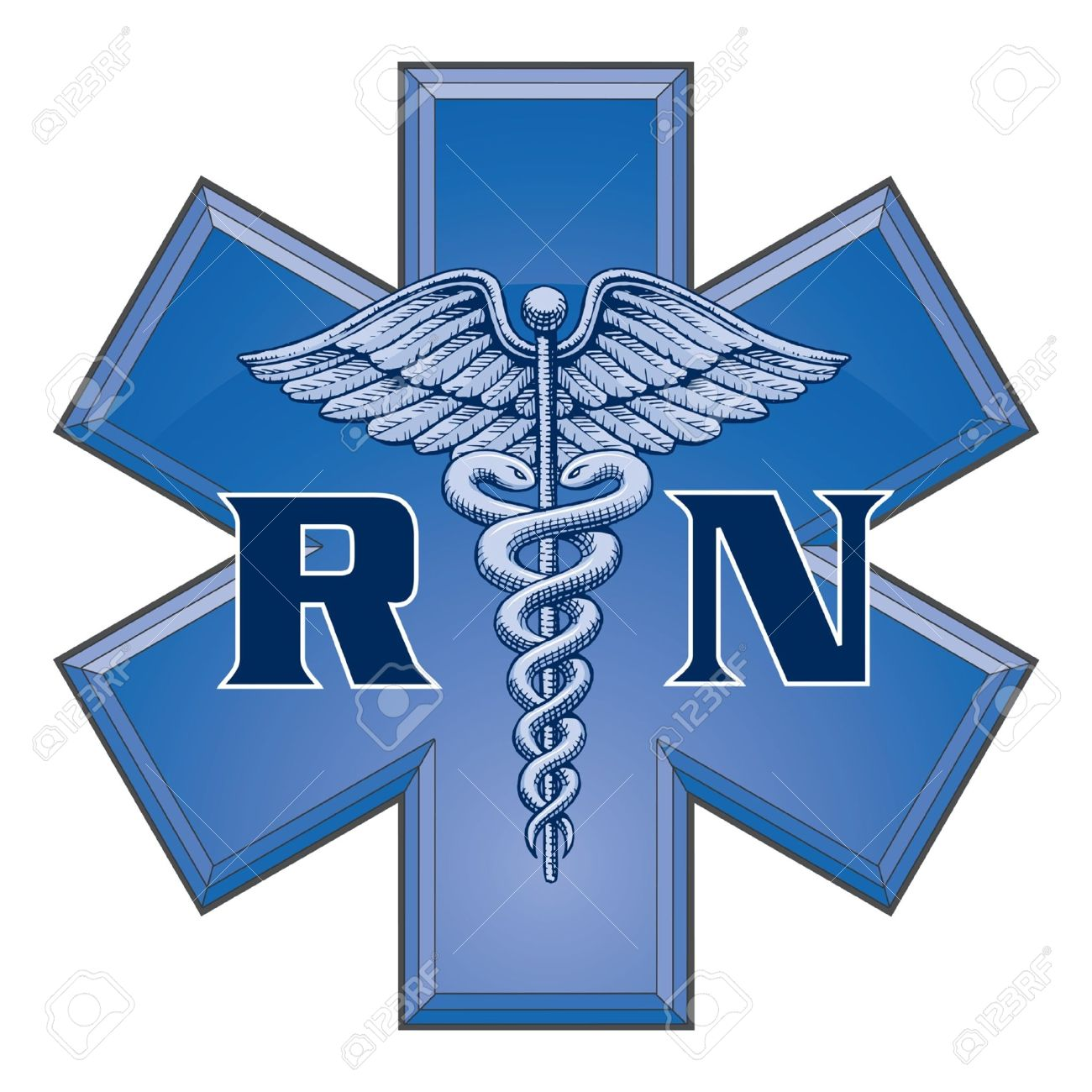 Registered Nurse Star of Life Nursing Symbol Design