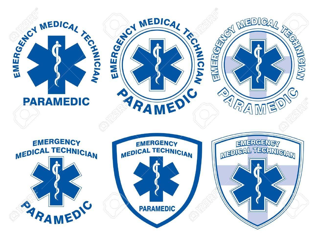EMT Paramedic Medical Designs is an illustration of six EMT or paramedic designs with star of life medical symbols - 21598199