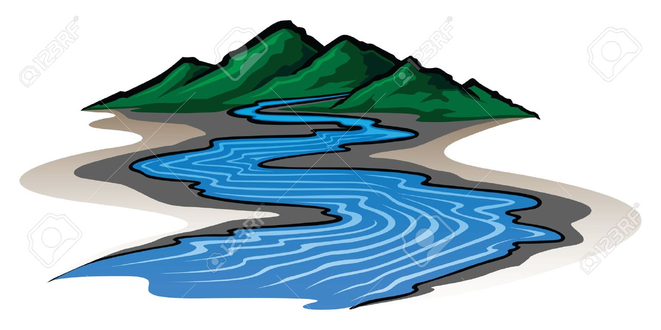 Mountains and River is an illustration of a graphic style mountain range and running river - 23297838