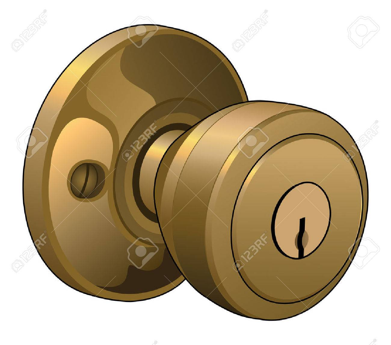 Door Knob Is An Illustration Of A Doorknob In A Reflective Gold ...